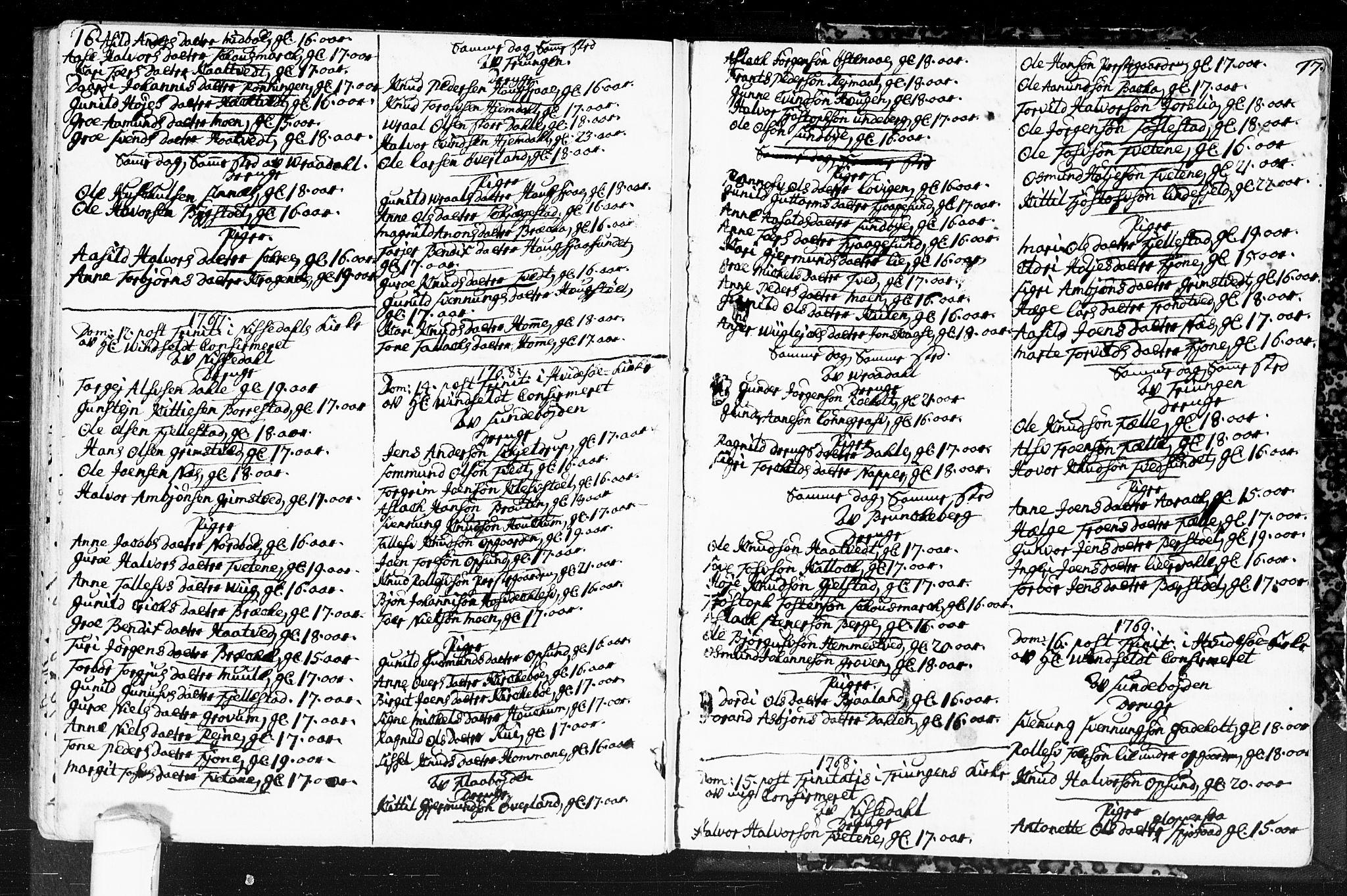 SAKO, Kviteseid kirkebøker, F/Fa/L0001: Ministerialbok nr. I 1, 1754-1773, s. 16-17