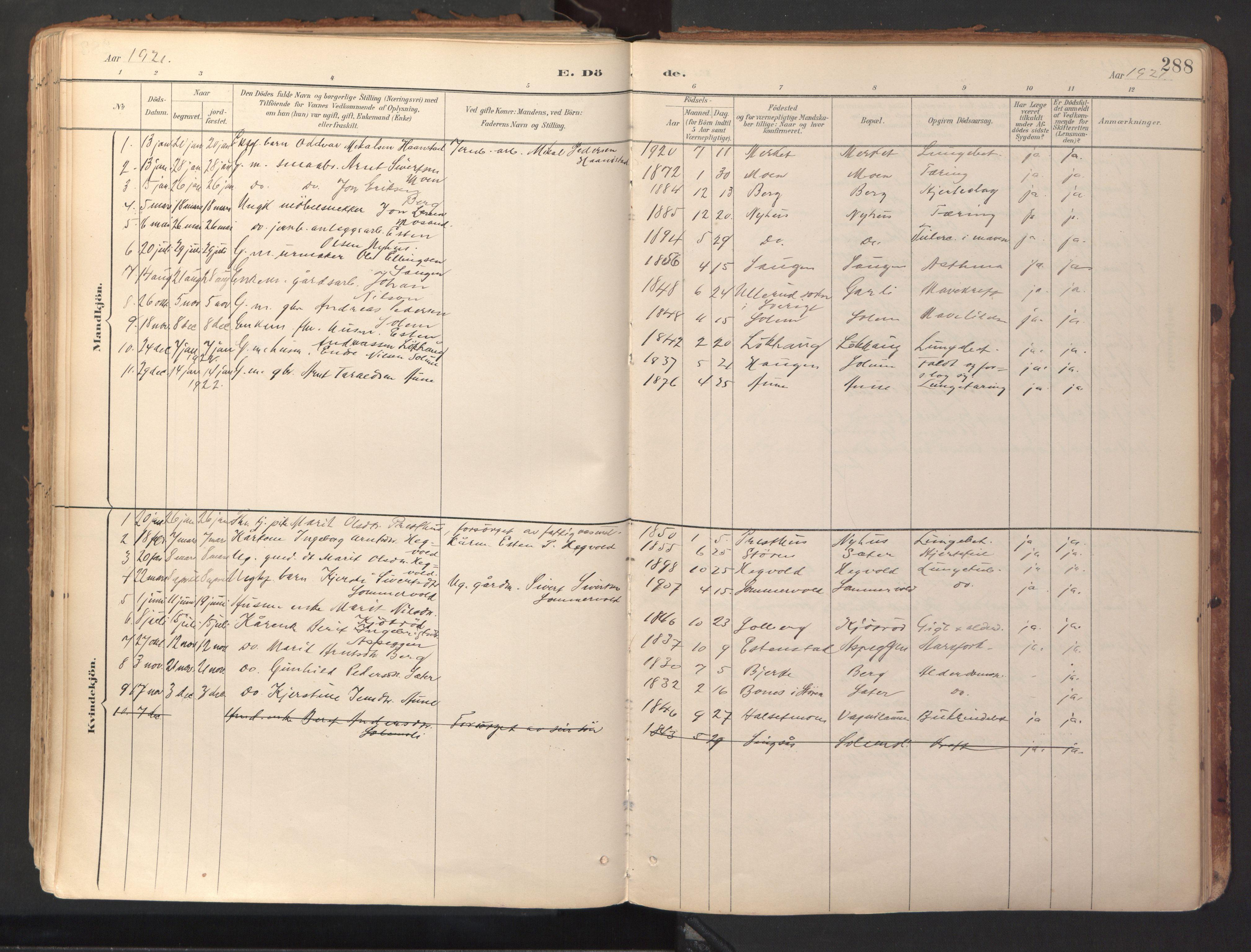 SAT, Ministerialprotokoller, klokkerbøker og fødselsregistre - Sør-Trøndelag, 689/L1041: Ministerialbok nr. 689A06, 1891-1923, s. 288