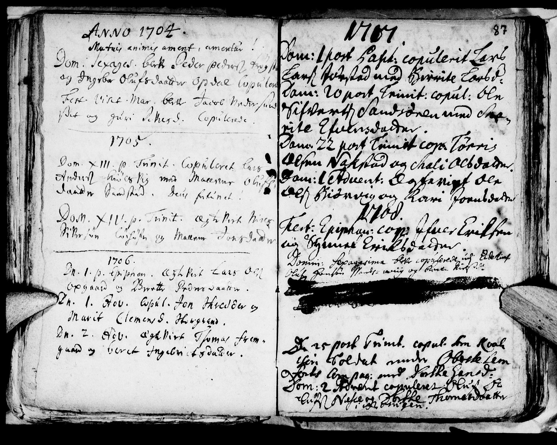 SAT, Ministerialprotokoller, klokkerbøker og fødselsregistre - Nord-Trøndelag, 722/L0214: Ministerialbok nr. 722A01, 1692-1718, s. 87