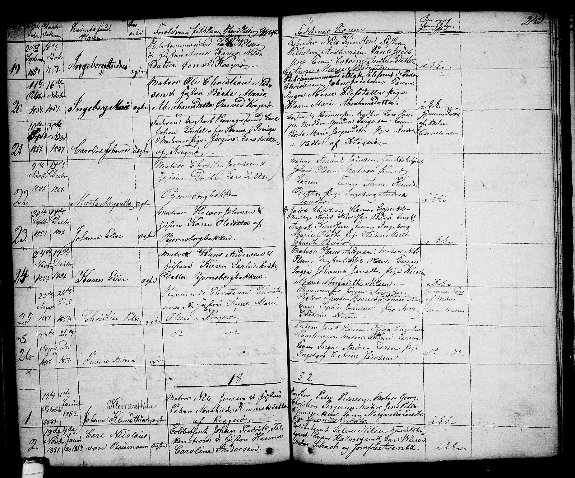 SAKO, Kragerø kirkebøker, G/Ga/L0003: Klokkerbok nr. 3, 1832-1852, s. 245