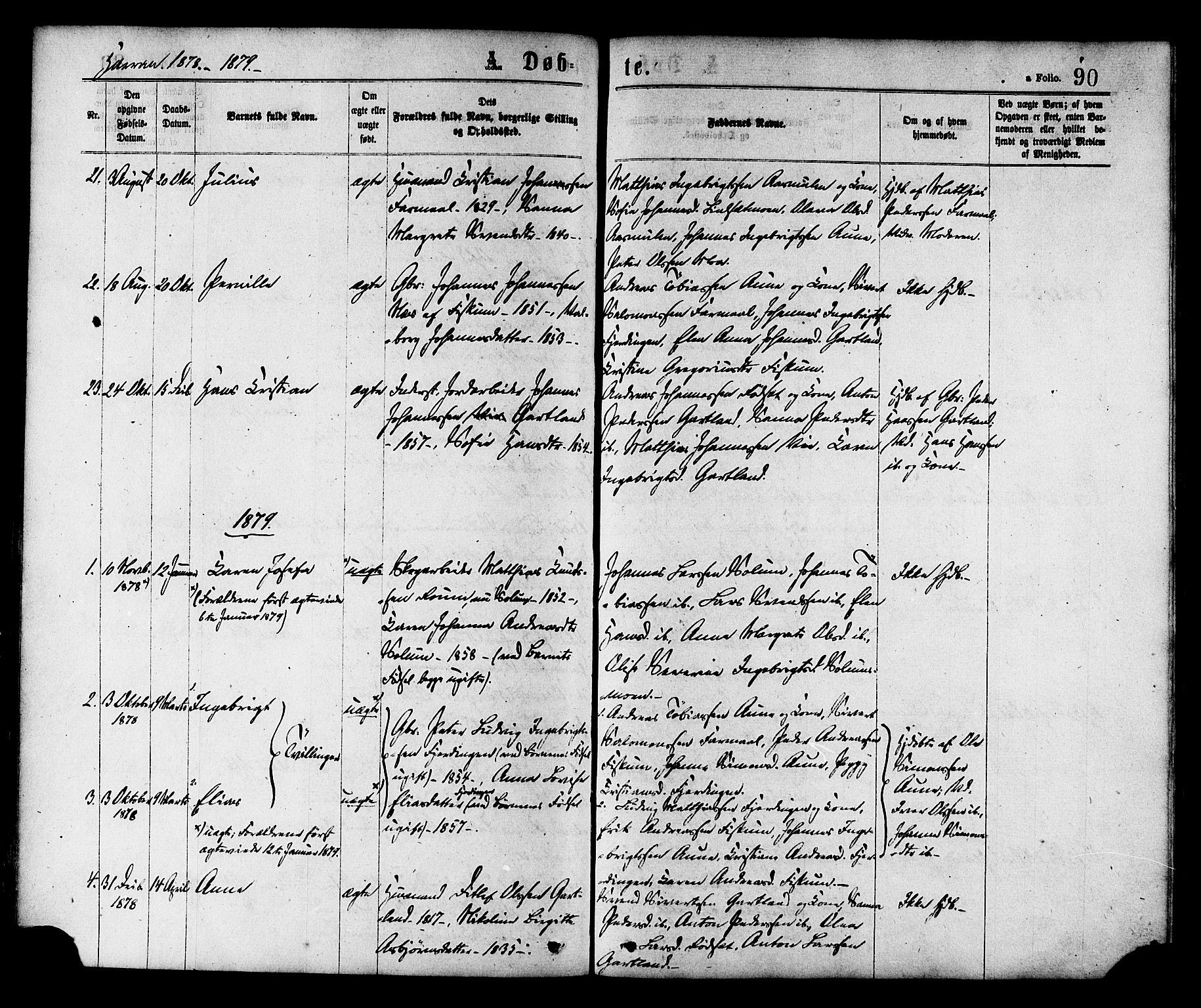 SAT, Ministerialprotokoller, klokkerbøker og fødselsregistre - Nord-Trøndelag, 758/L0516: Ministerialbok nr. 758A03 /3, 1869-1879, s. 90