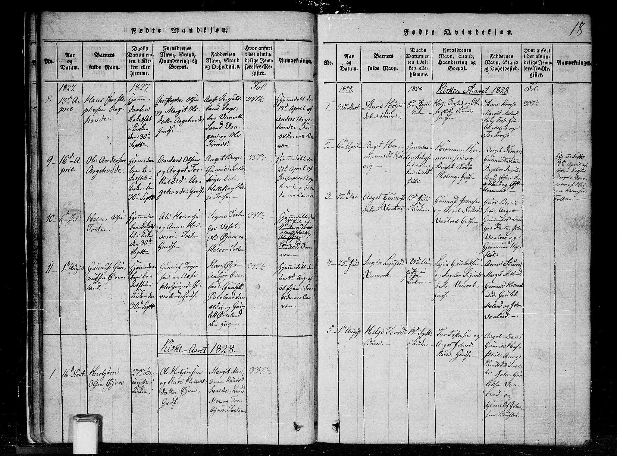 SAKO, Tinn kirkebøker, G/Gc/L0001: Klokkerbok nr. III 1, 1815-1879, s. 18