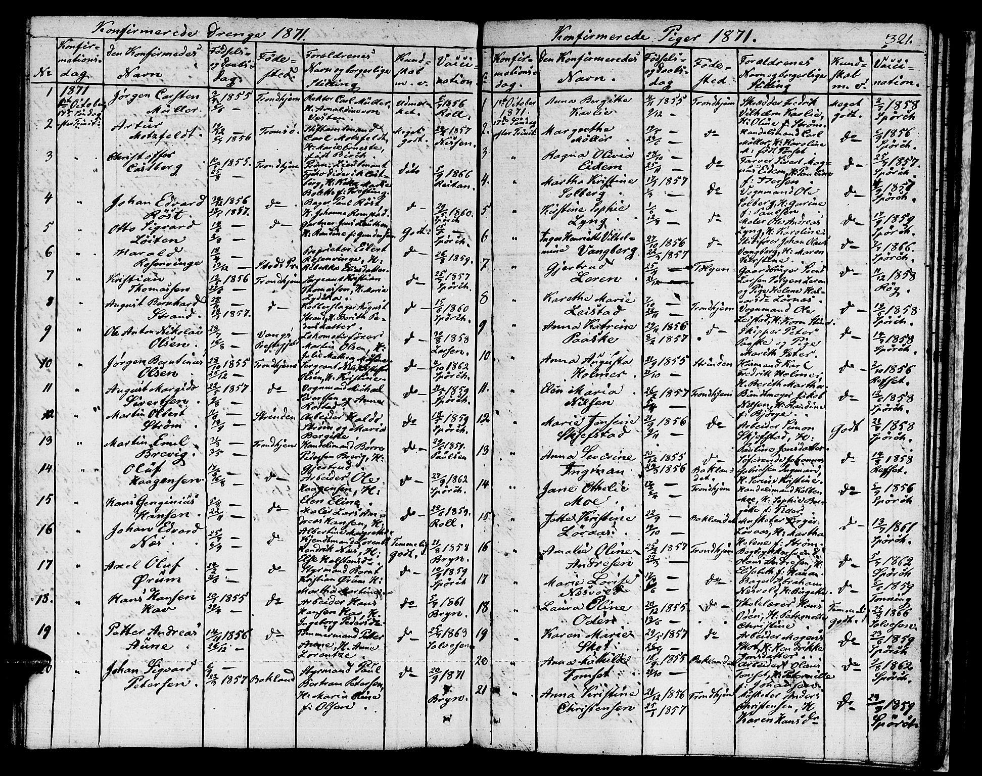 SAT, Ministerialprotokoller, klokkerbøker og fødselsregistre - Sør-Trøndelag, 601/L0070: Residerende kapellans bok nr. 601B03, 1821-1881, s. 321