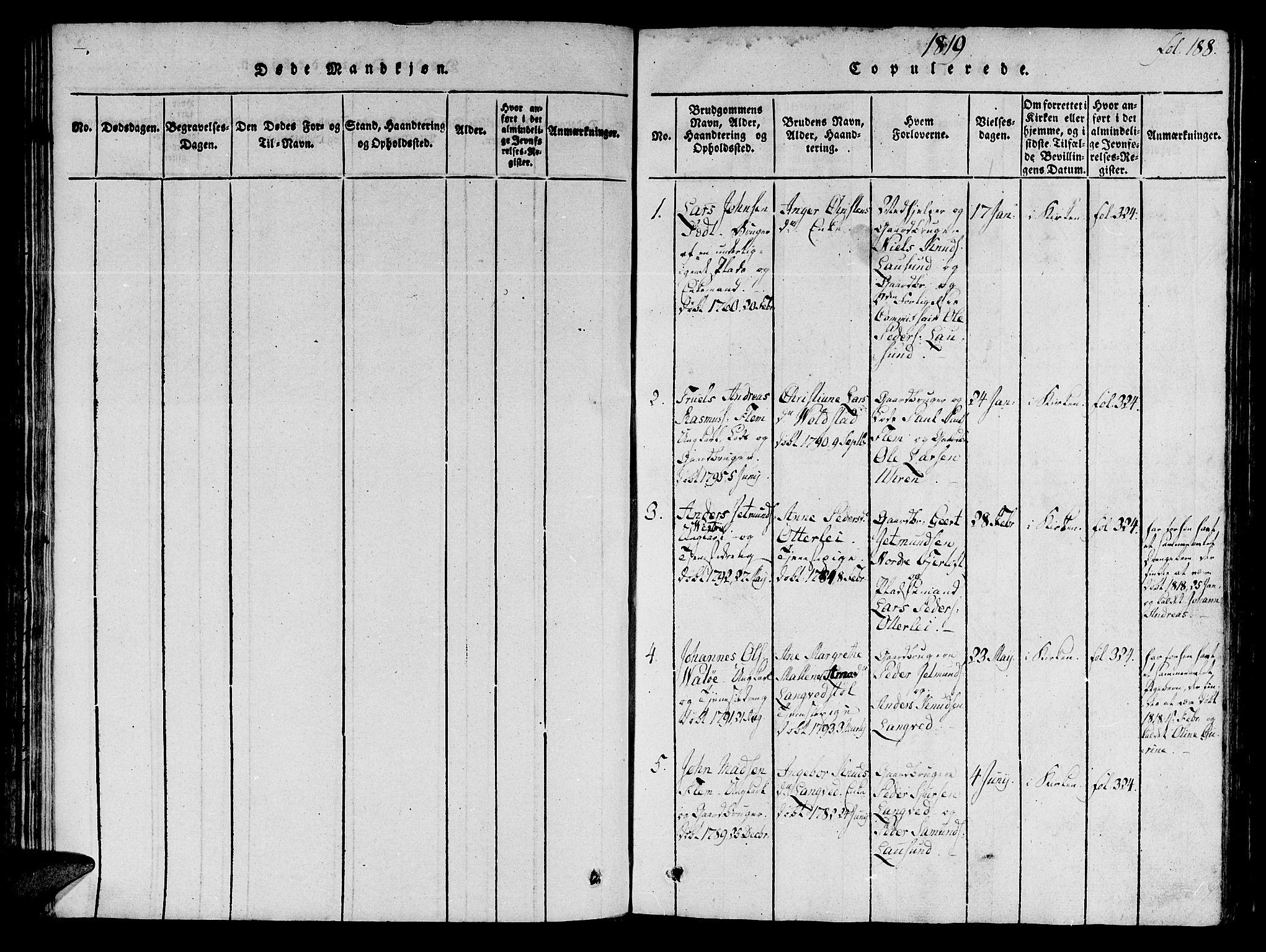 SAT, Ministerialprotokoller, klokkerbøker og fødselsregistre - Møre og Romsdal, 536/L0495: Ministerialbok nr. 536A04, 1818-1847, s. 188