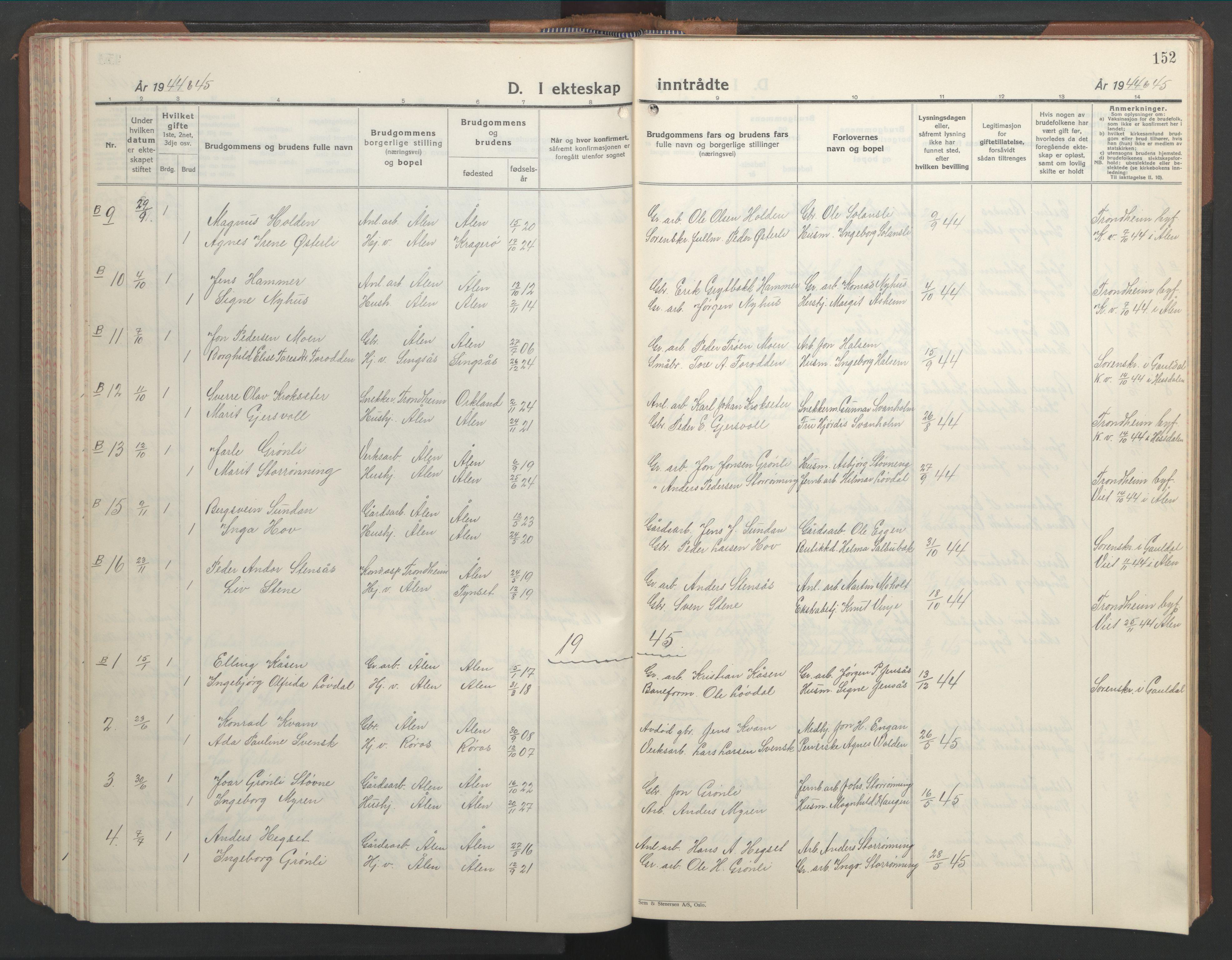 SAT, Ministerialprotokoller, klokkerbøker og fødselsregistre - Sør-Trøndelag, 686/L0986: Klokkerbok nr. 686C02, 1933-1950, s. 152
