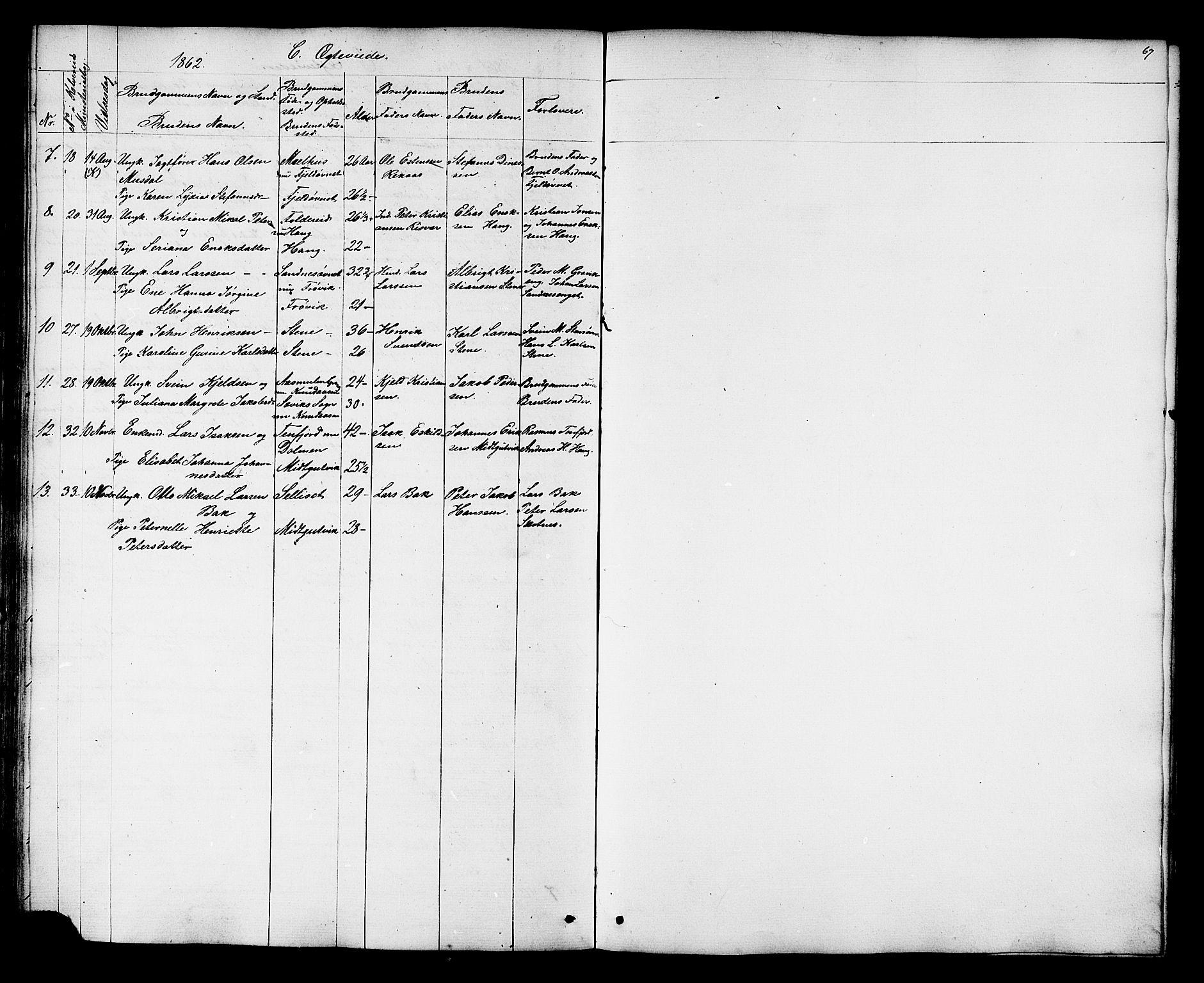SAT, Ministerialprotokoller, klokkerbøker og fødselsregistre - Nord-Trøndelag, 788/L0695: Ministerialbok nr. 788A02, 1843-1862, s. 67