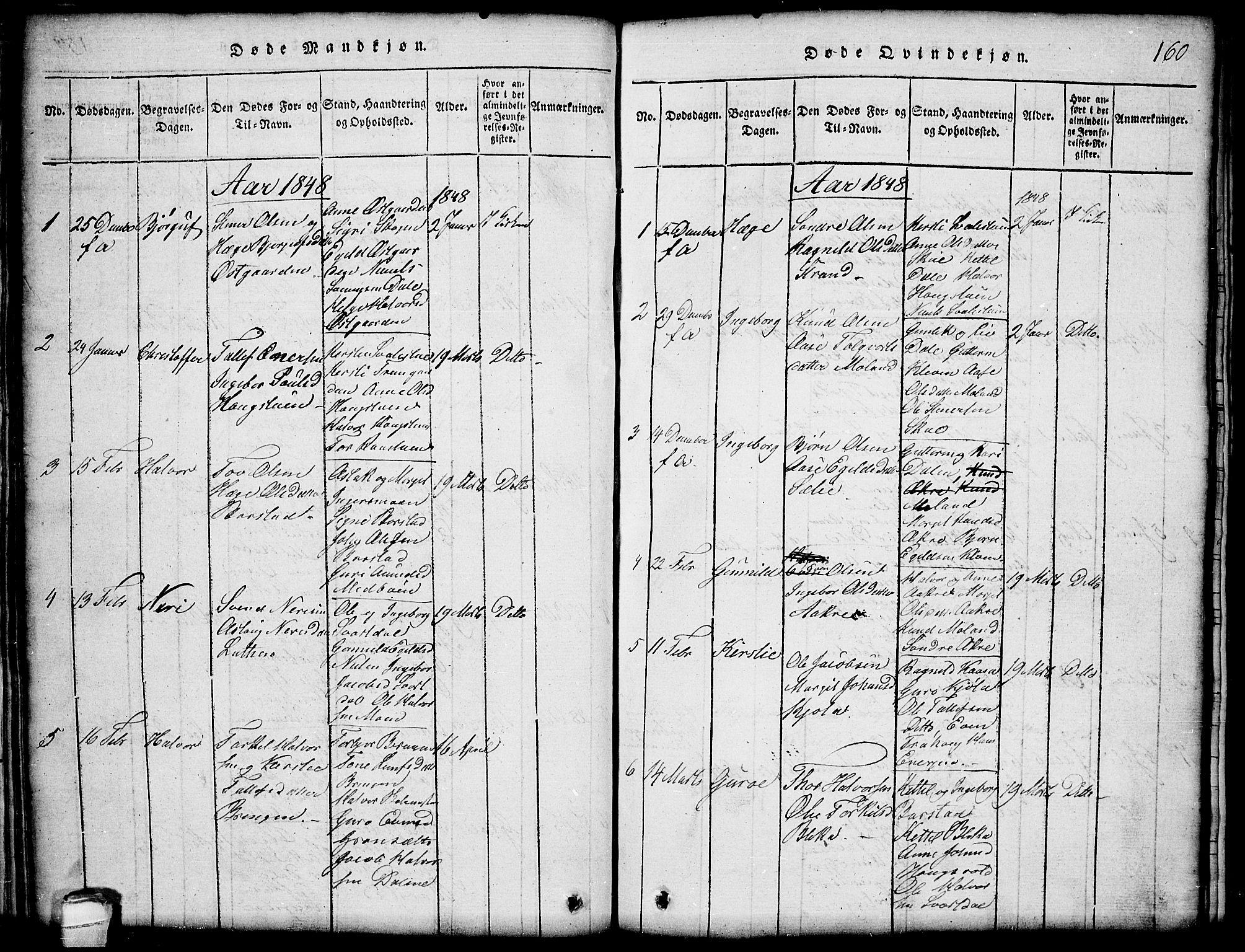 SAKO, Seljord kirkebøker, G/Gb/L0002: Klokkerbok nr. II 2, 1815-1854, s. 160