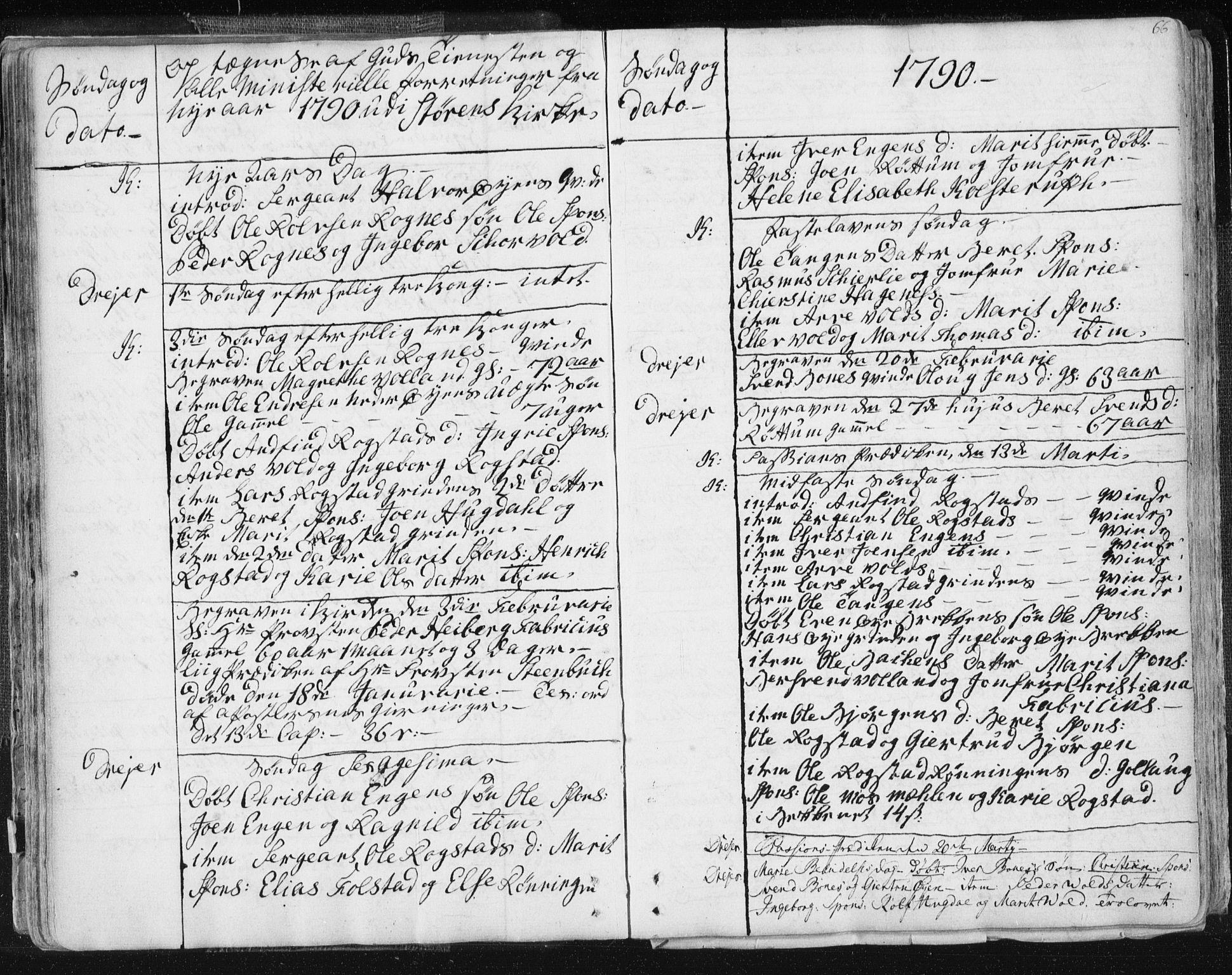 SAT, Ministerialprotokoller, klokkerbøker og fødselsregistre - Sør-Trøndelag, 687/L0991: Ministerialbok nr. 687A02, 1747-1790, s. 66