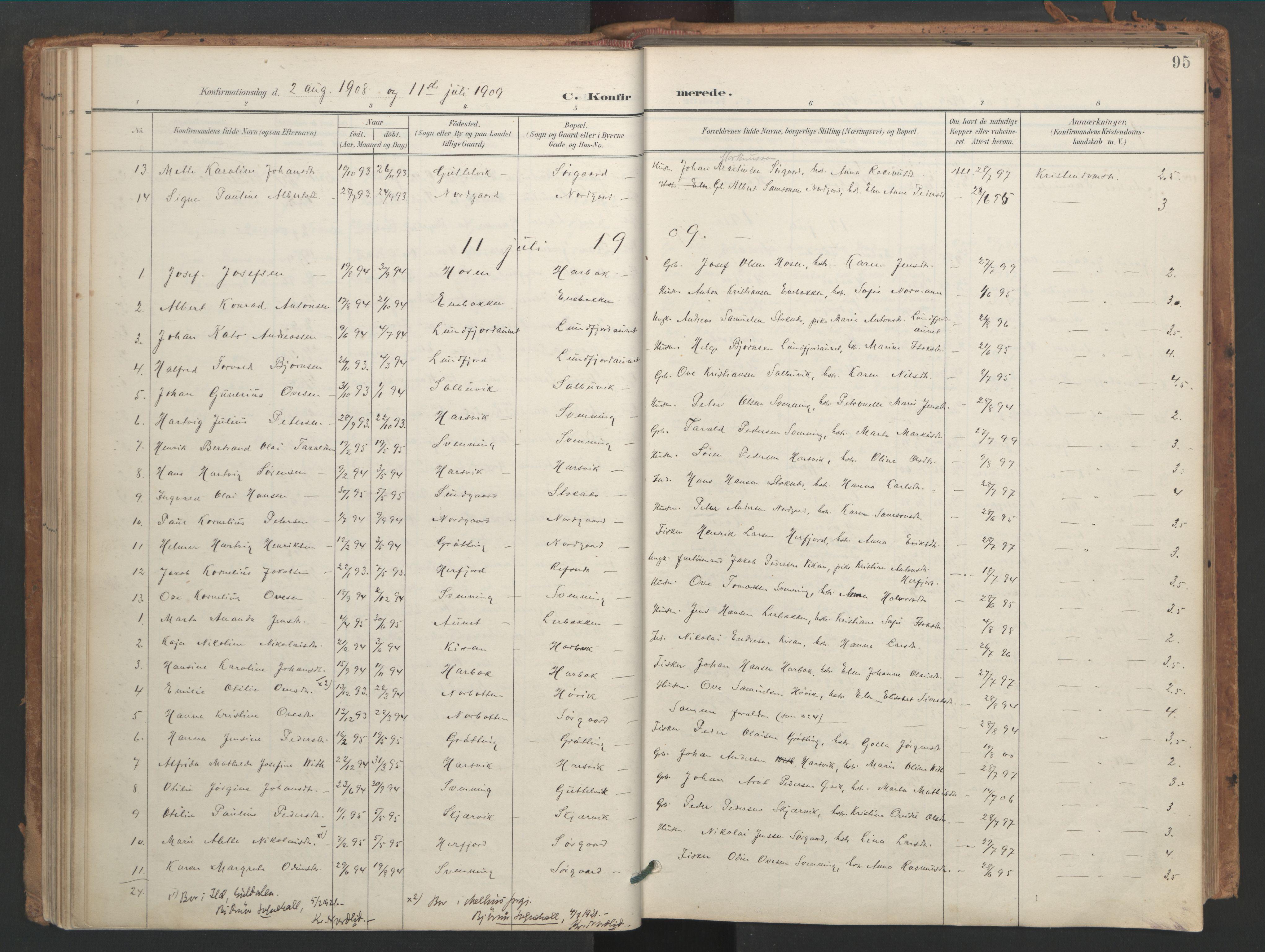 SAT, Ministerialprotokoller, klokkerbøker og fødselsregistre - Sør-Trøndelag, 656/L0693: Ministerialbok nr. 656A02, 1894-1913, s. 95