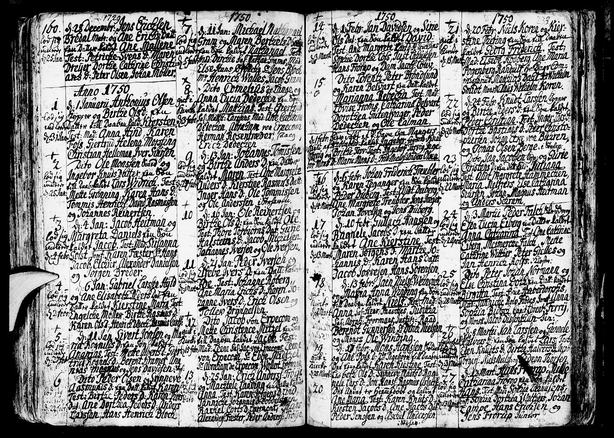 SAB, Nykirken Sokneprestembete, H/Haa: Ministerialbok nr. A 3, 1717-1764, s. 233