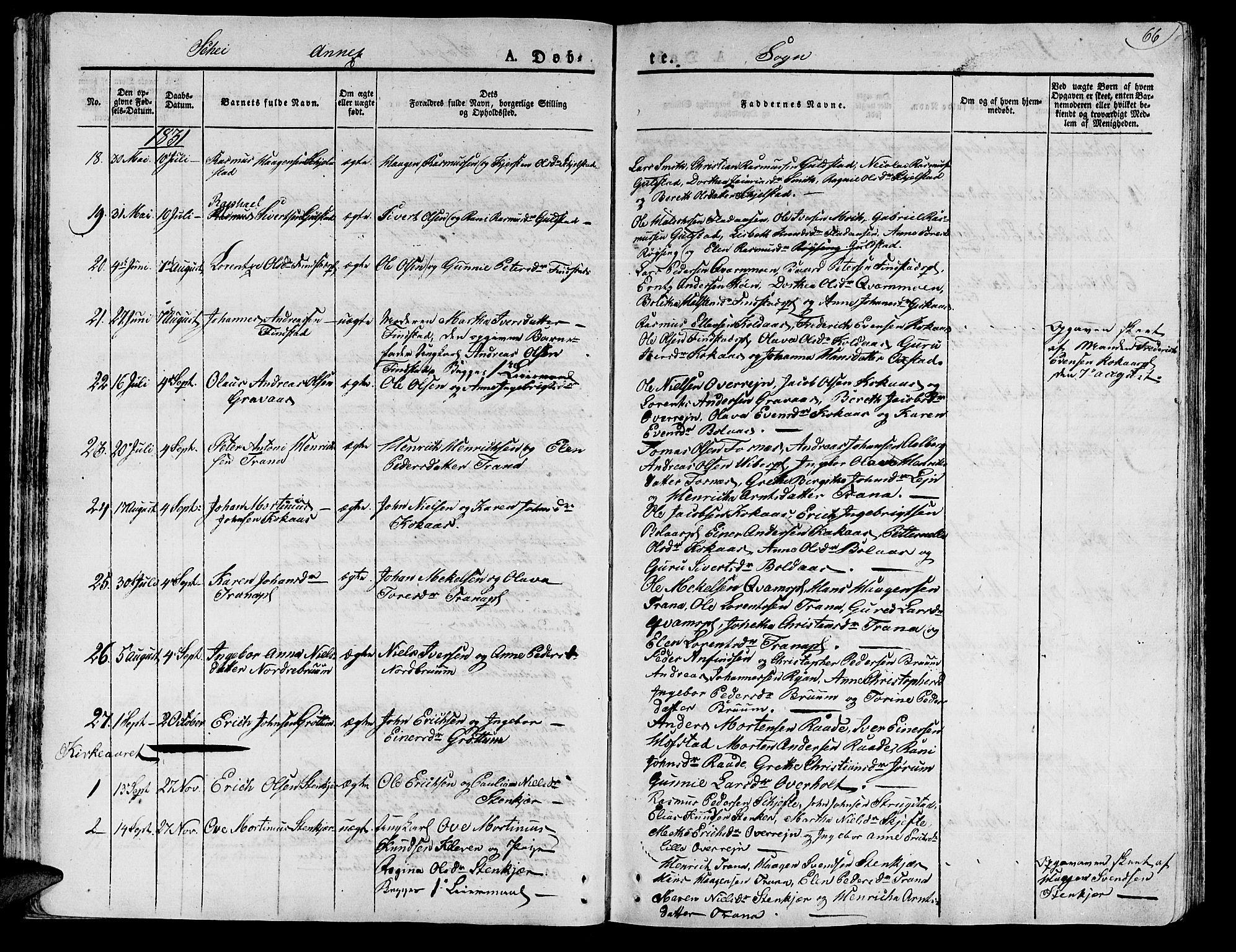 SAT, Ministerialprotokoller, klokkerbøker og fødselsregistre - Nord-Trøndelag, 735/L0336: Ministerialbok nr. 735A05 /2, 1825-1835, s. 66
