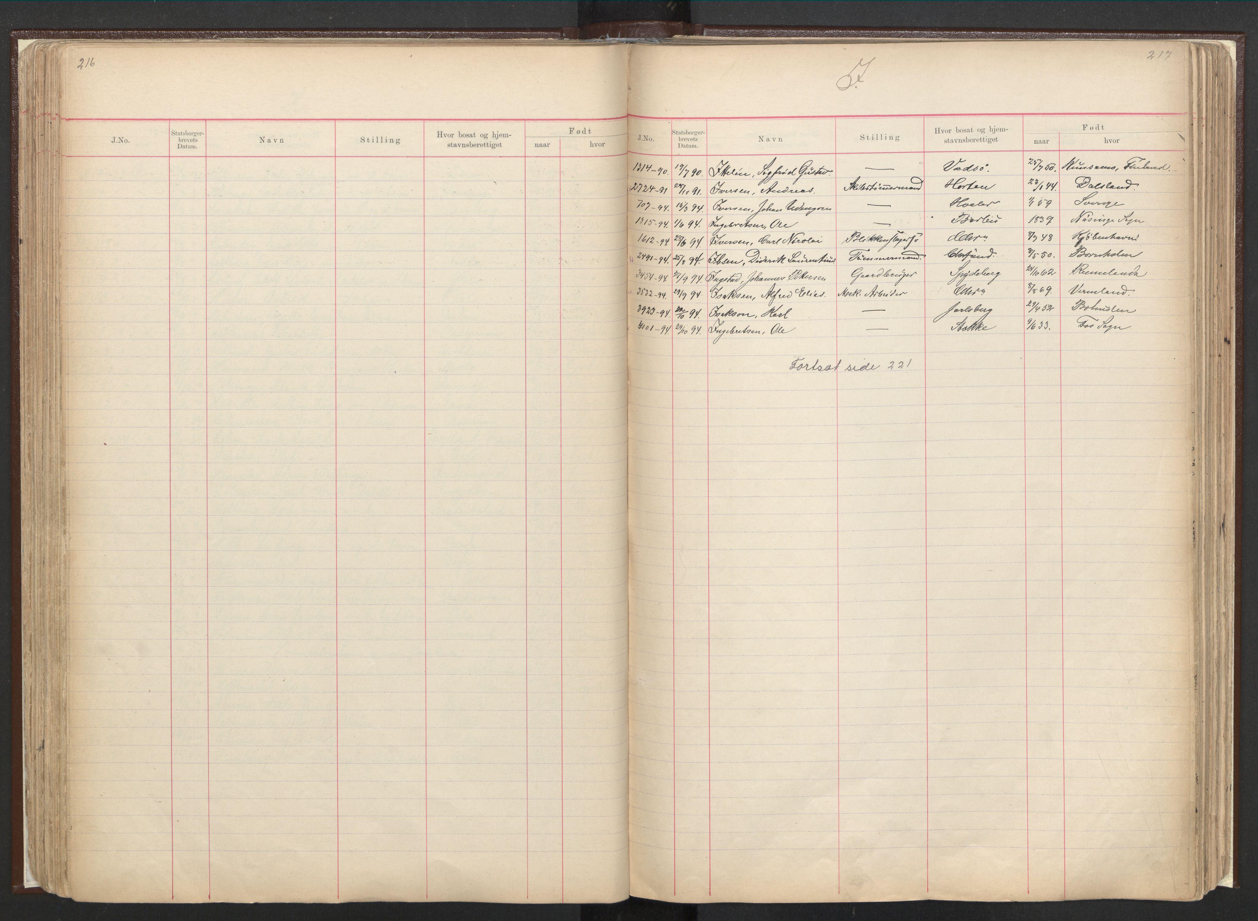 RA, Justisdepartementet, 3. politikontor P3, C/Cc/L0001: Journal over statsborgersaker, 1891-1946, s. 216-217