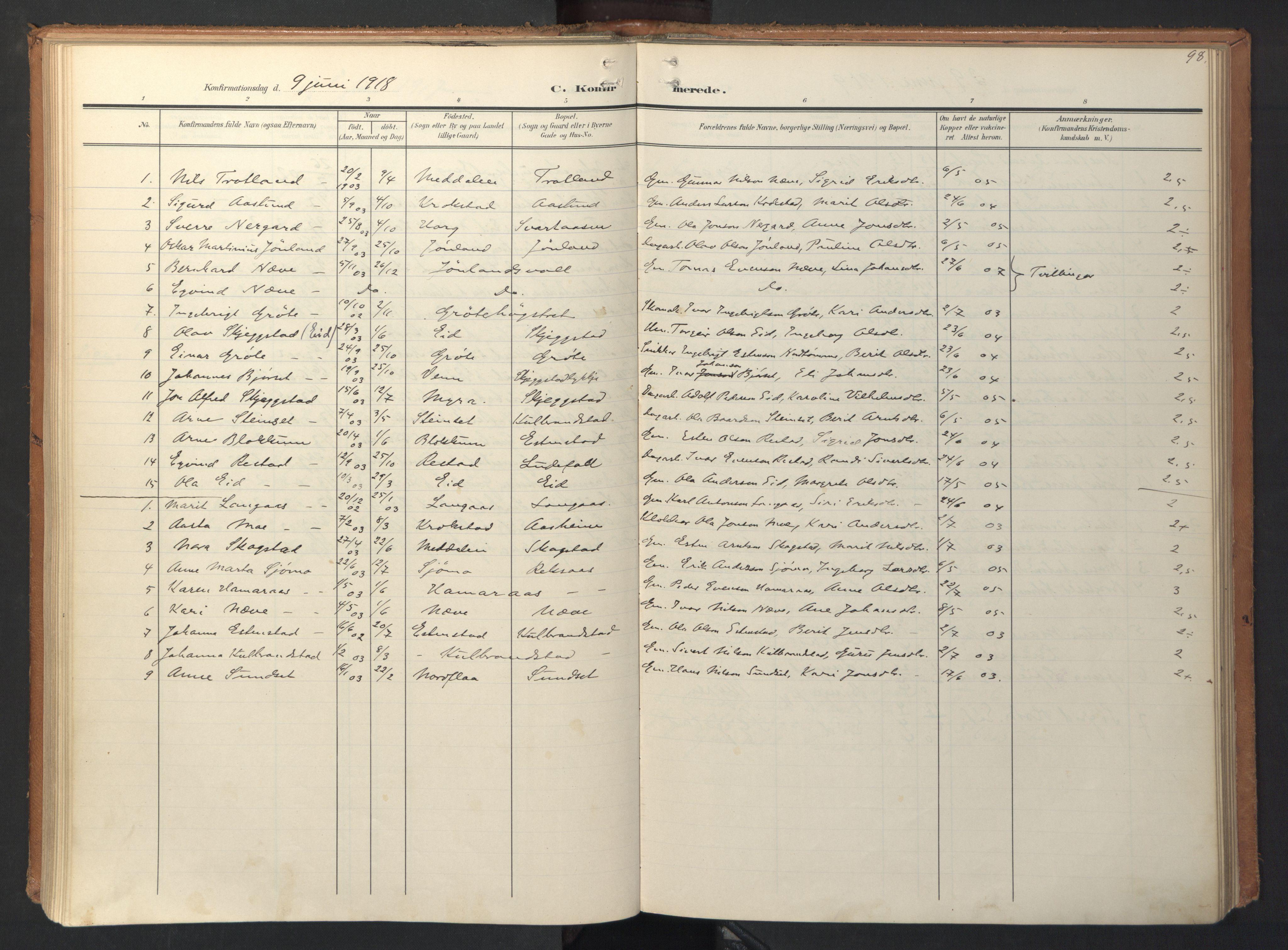 SAT, Ministerialprotokoller, klokkerbøker og fødselsregistre - Sør-Trøndelag, 694/L1128: Ministerialbok nr. 694A02, 1906-1931, s. 98
