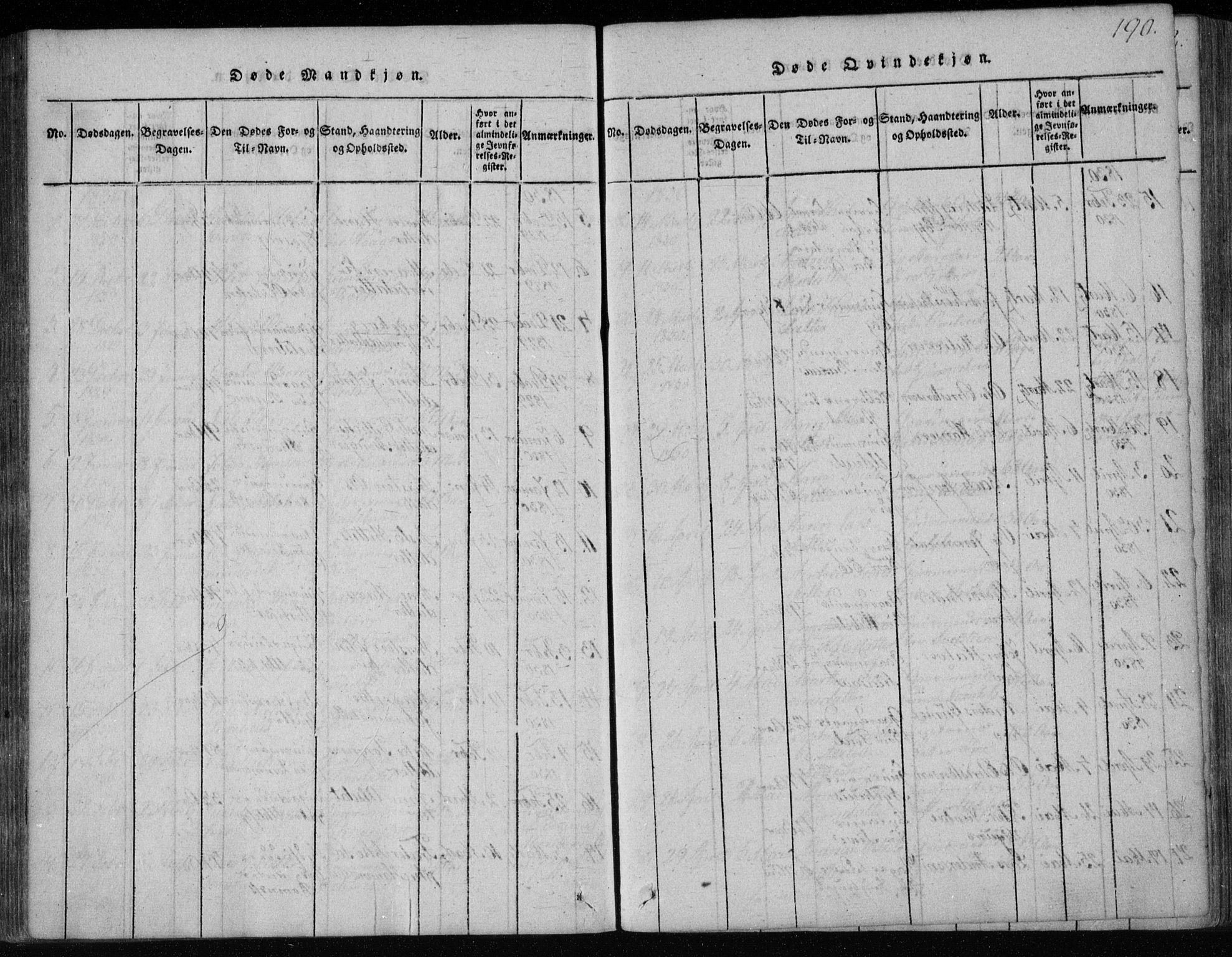 SAKO, Holla kirkebøker, F/Fa/L0003: Ministerialbok nr. 3, 1815-1830, s. 190