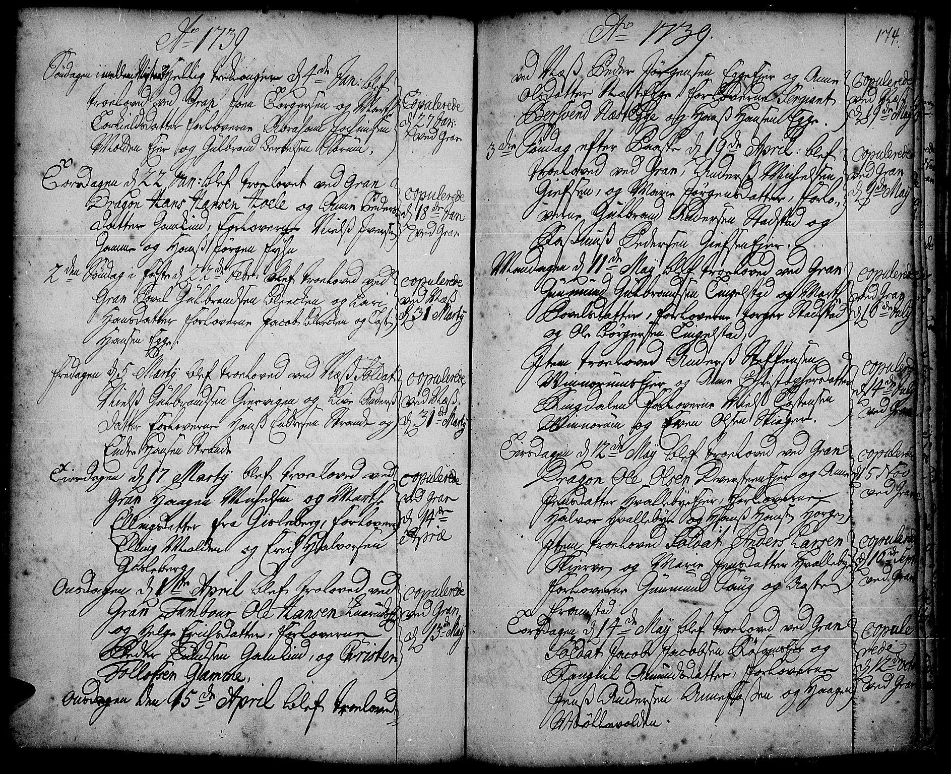 SAH, Gran prestekontor, Ministerialbok nr. 2, 1732-1744, s. 174
