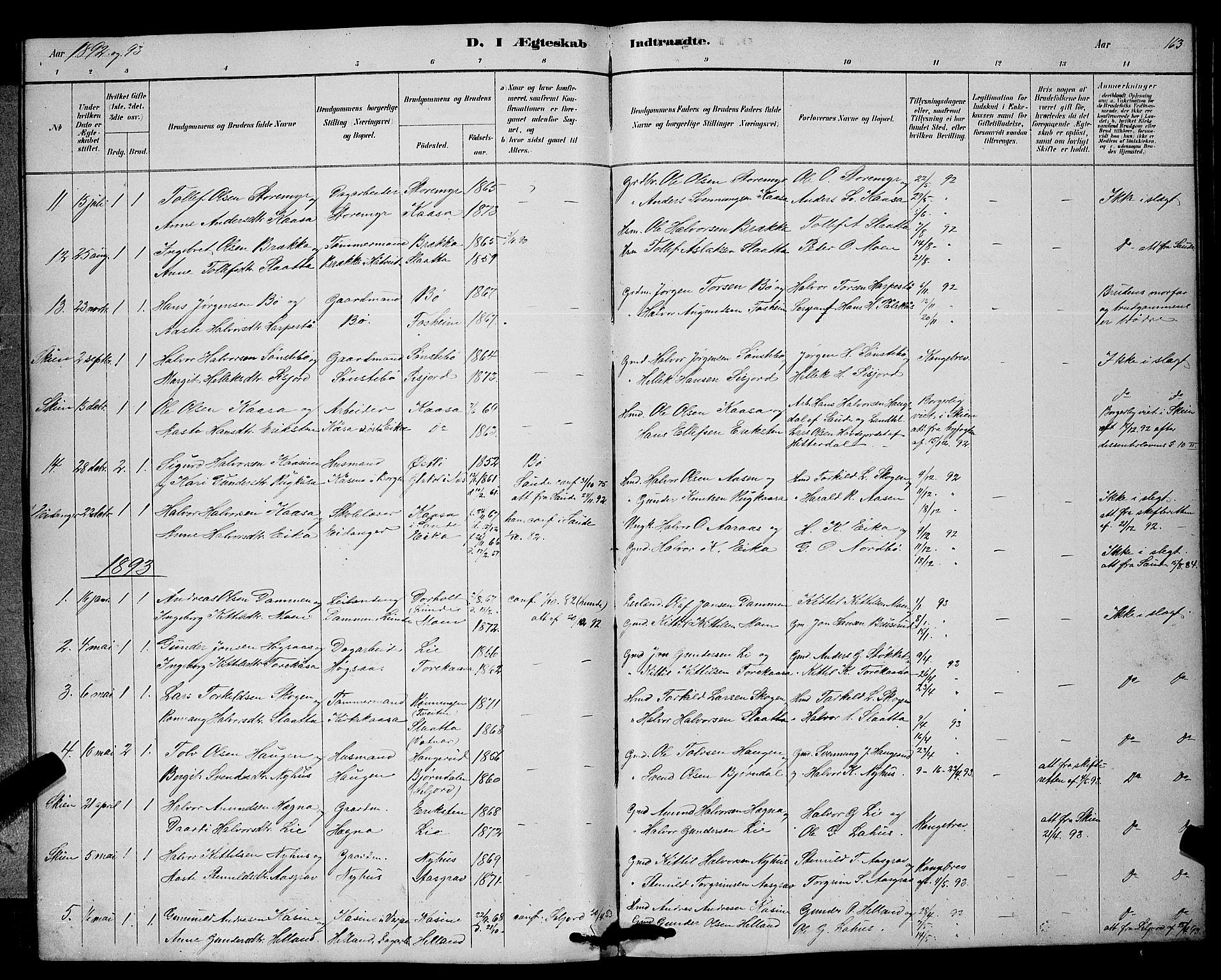 SAKO, Bø kirkebøker, G/Ga/L0005: Klokkerbok nr. 5, 1883-1897, s. 163