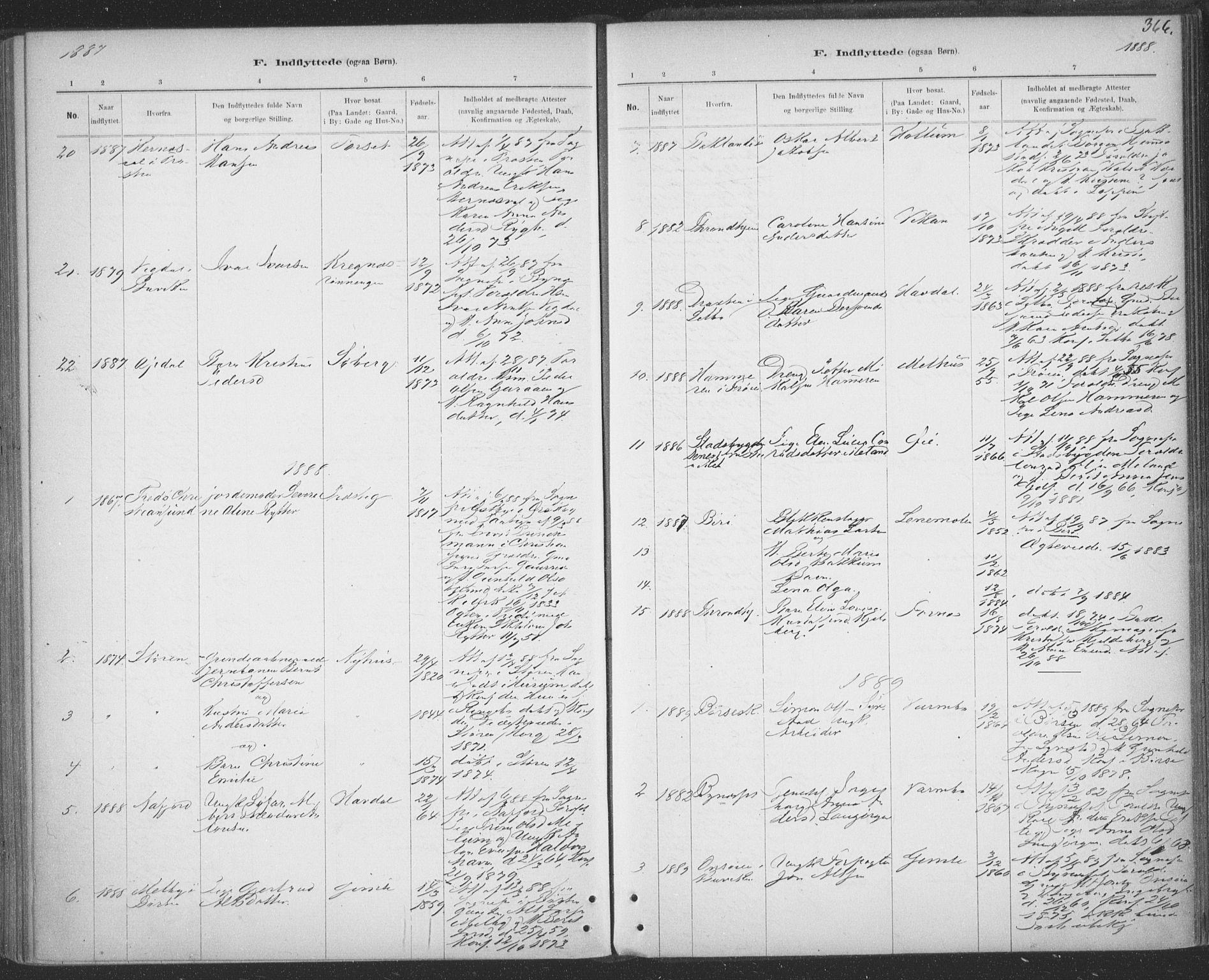 SAT, Ministerialprotokoller, klokkerbøker og fødselsregistre - Sør-Trøndelag, 691/L1085: Ministerialbok nr. 691A17, 1887-1908, s. 366