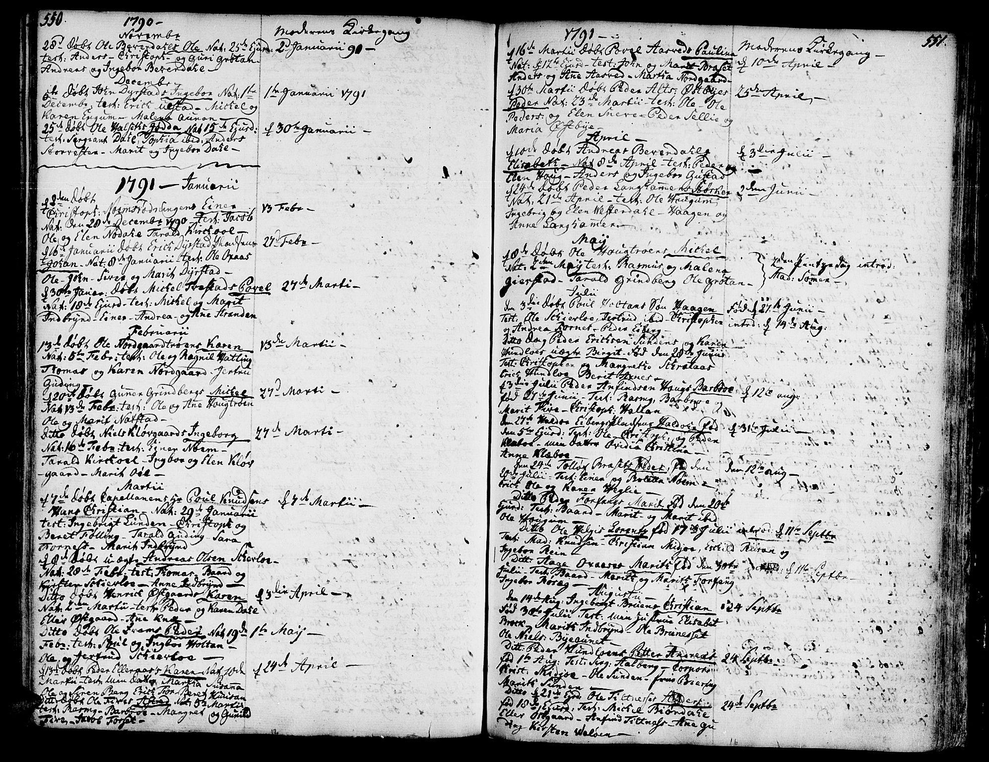 SAT, Ministerialprotokoller, klokkerbøker og fødselsregistre - Nord-Trøndelag, 746/L0440: Ministerialbok nr. 746A02, 1760-1815, s. 550-551