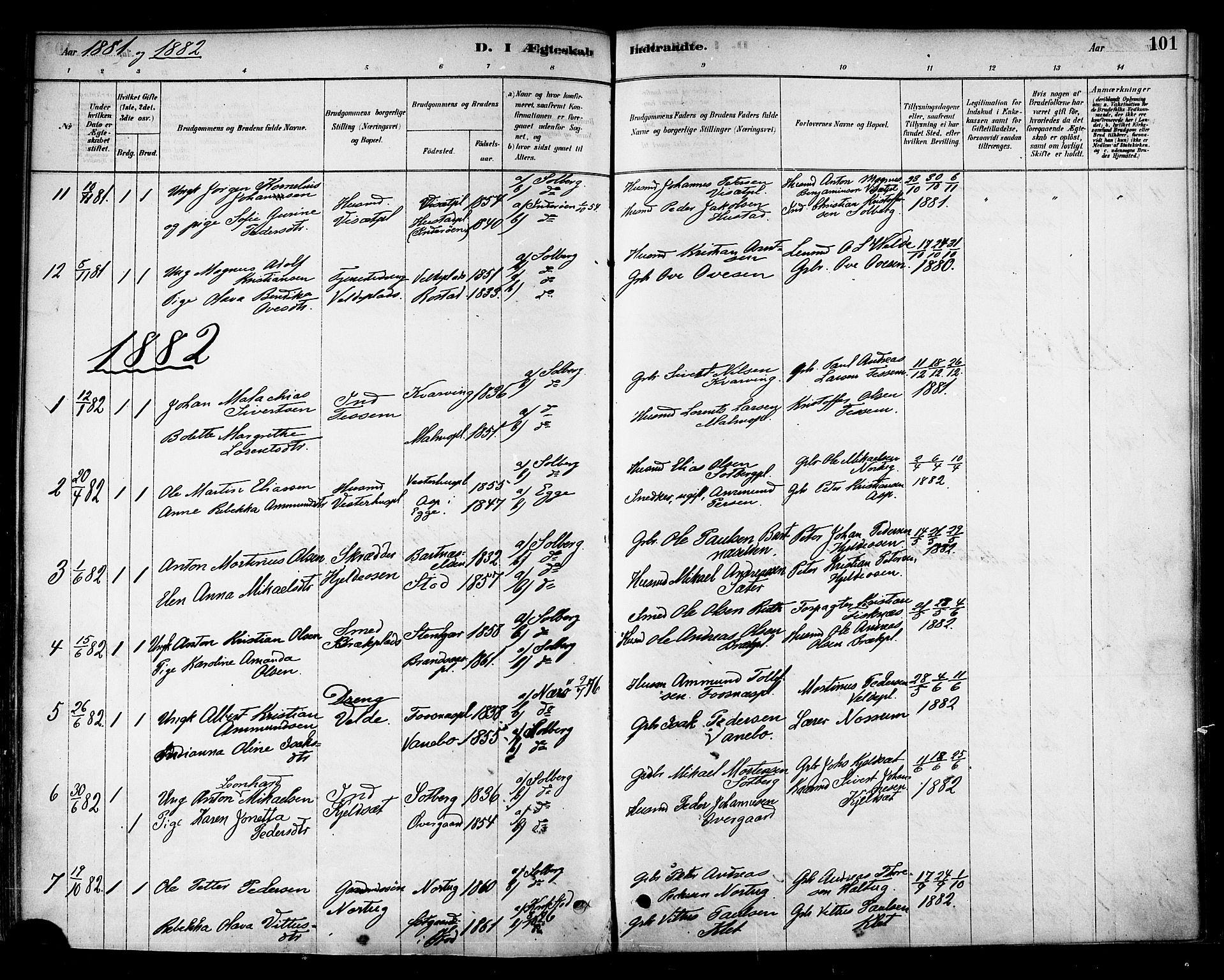 SAT, Ministerialprotokoller, klokkerbøker og fødselsregistre - Nord-Trøndelag, 741/L0395: Ministerialbok nr. 741A09, 1878-1888, s. 101