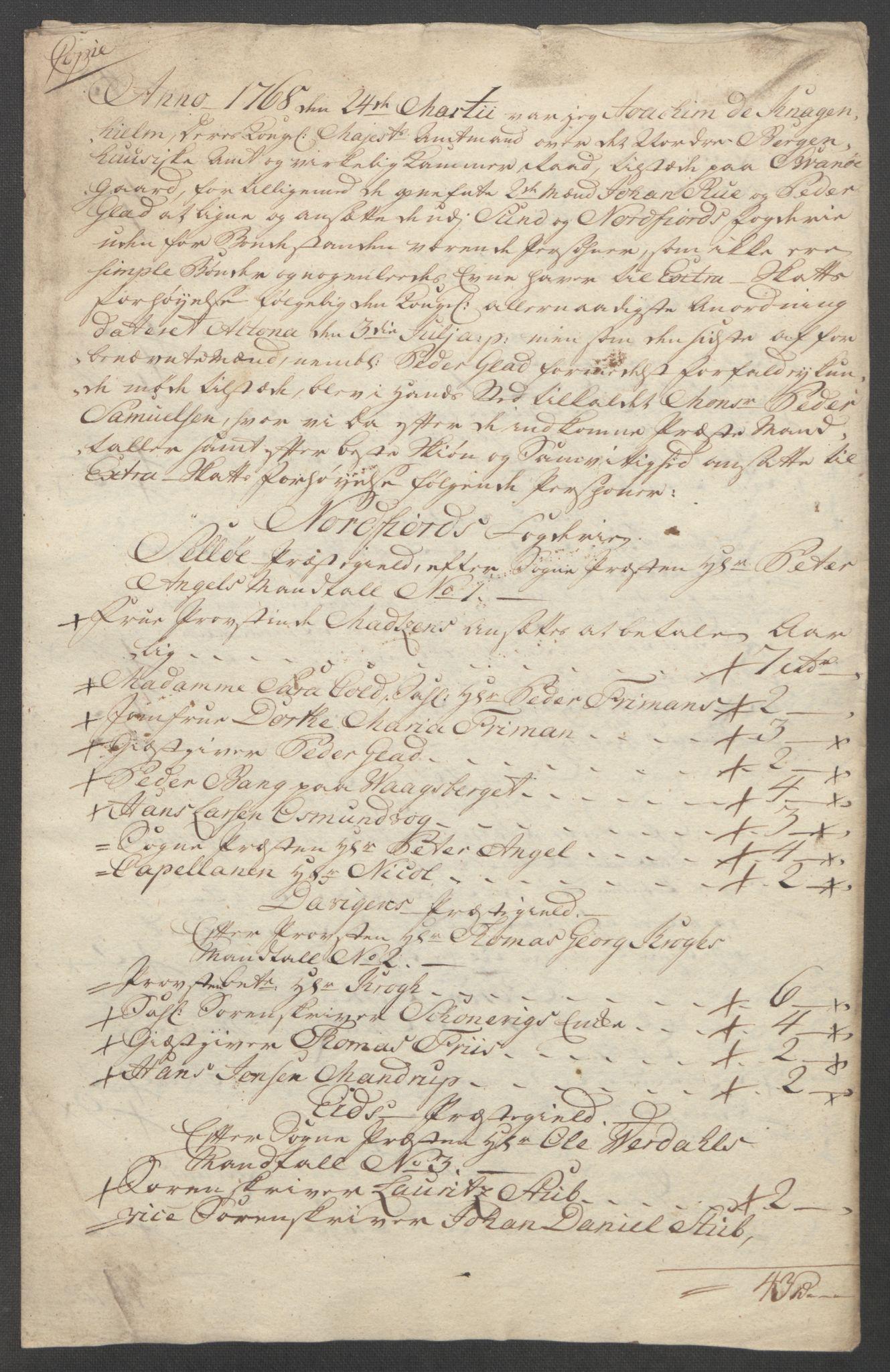 RA, Rentekammeret inntil 1814, Reviderte regnskaper, Fogderegnskap, R53/L3550: Ekstraskatten Sunn- og Nordfjord, 1762-1771, s. 263