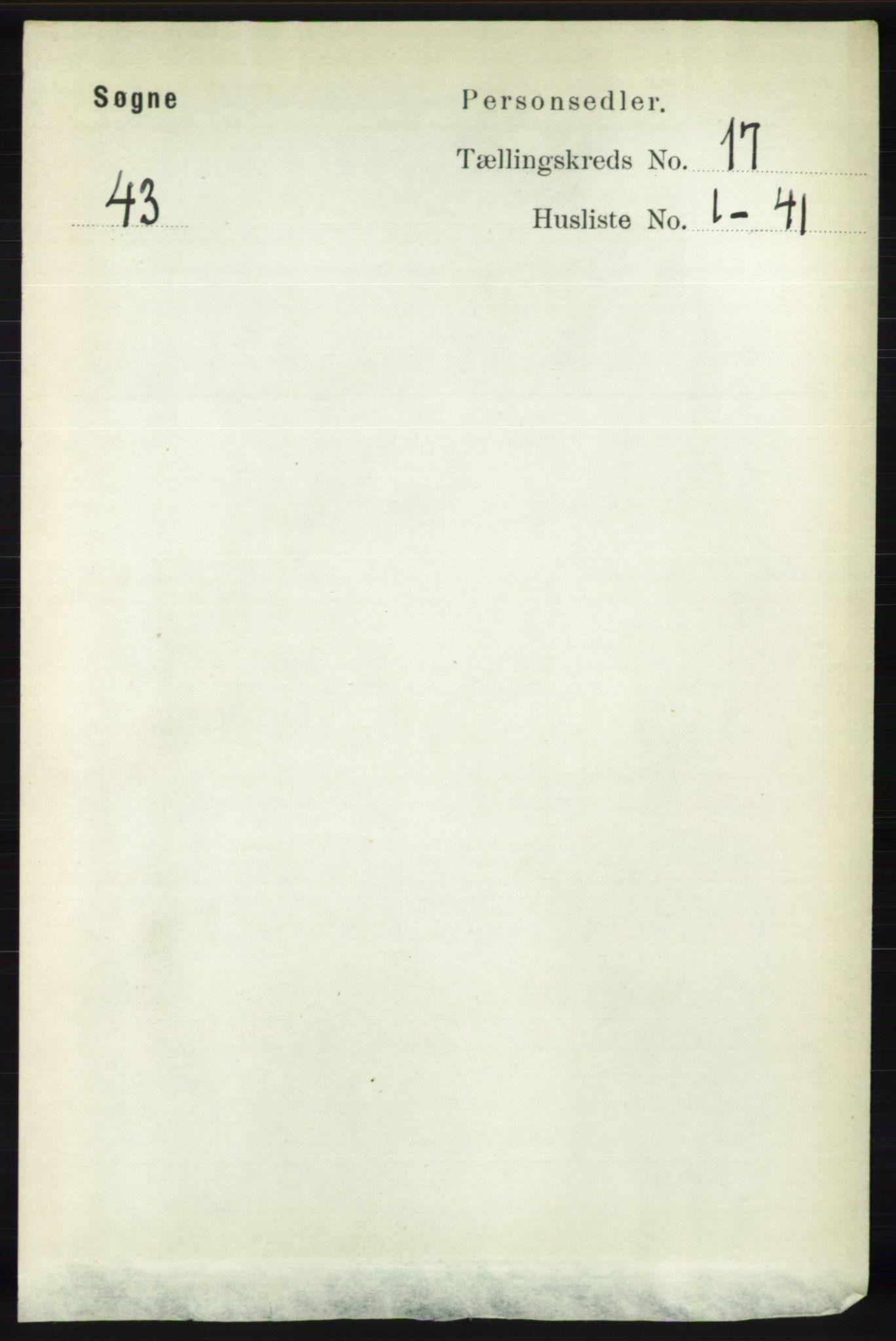 RA, Folketelling 1891 for 1018 Søgne herred, 1891, s. 4509