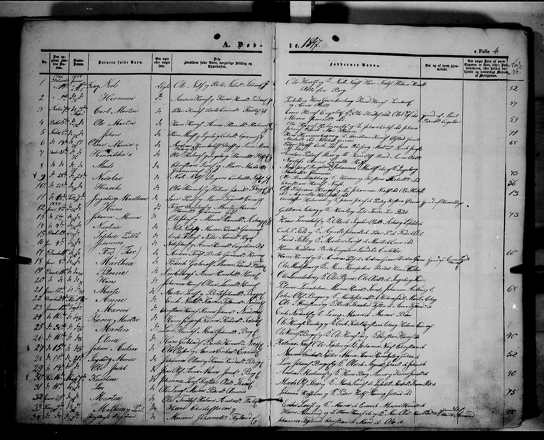 SAH, Land prestekontor, Ministerialbok nr. 9, 1847-1859, s. 4