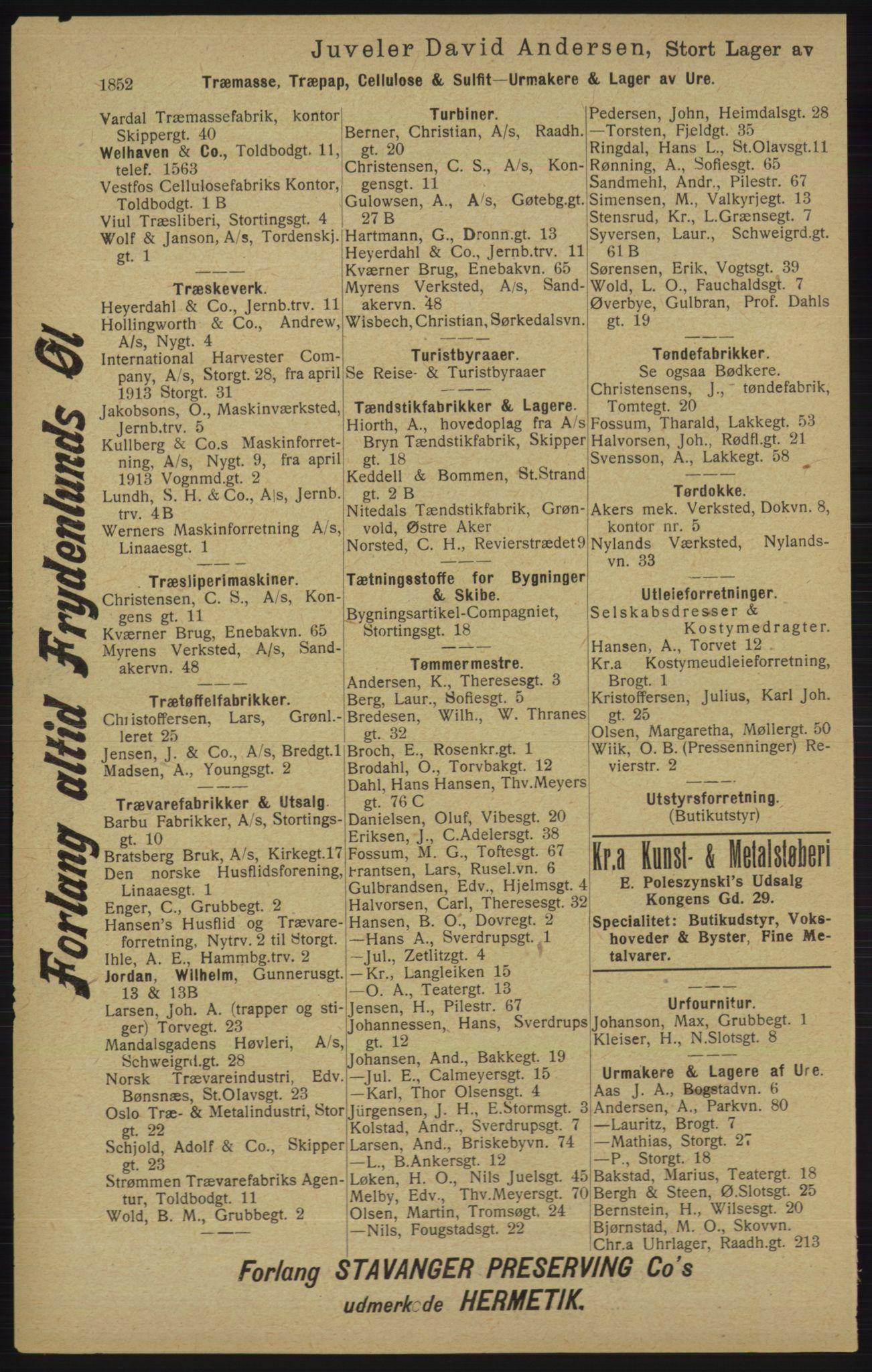 RA, Kristiania adressebok (publikasjon)*, 1913, s. 1852