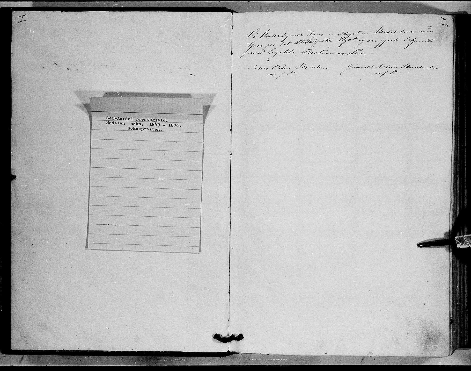 SAH, Sør-Aurdal prestekontor, Ministerialbok nr. 7, 1849-1876