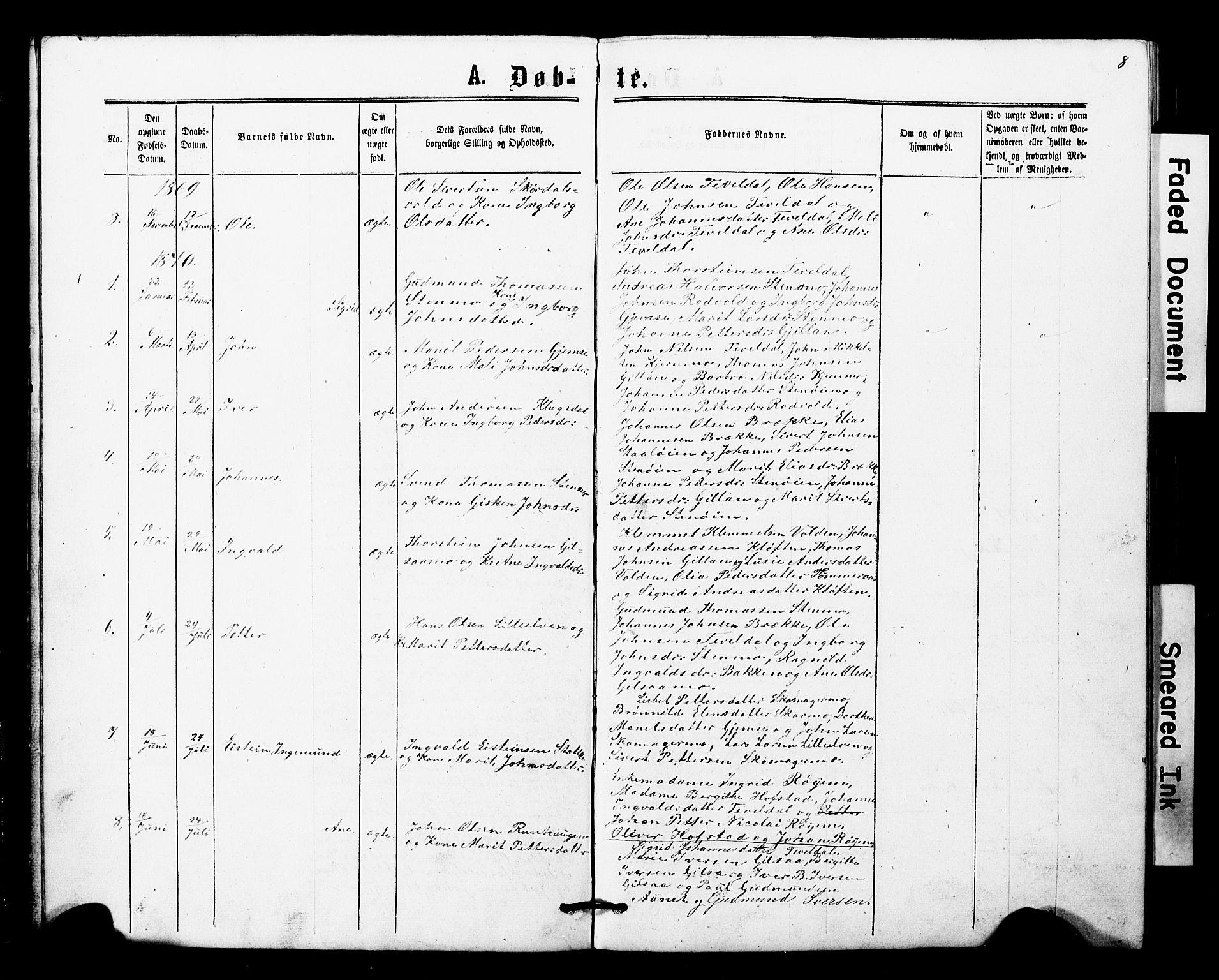 SAT, Ministerialprotokoller, klokkerbøker og fødselsregistre - Nord-Trøndelag, 707/L0052: Klokkerbok nr. 707C01, 1864-1897, s. 8