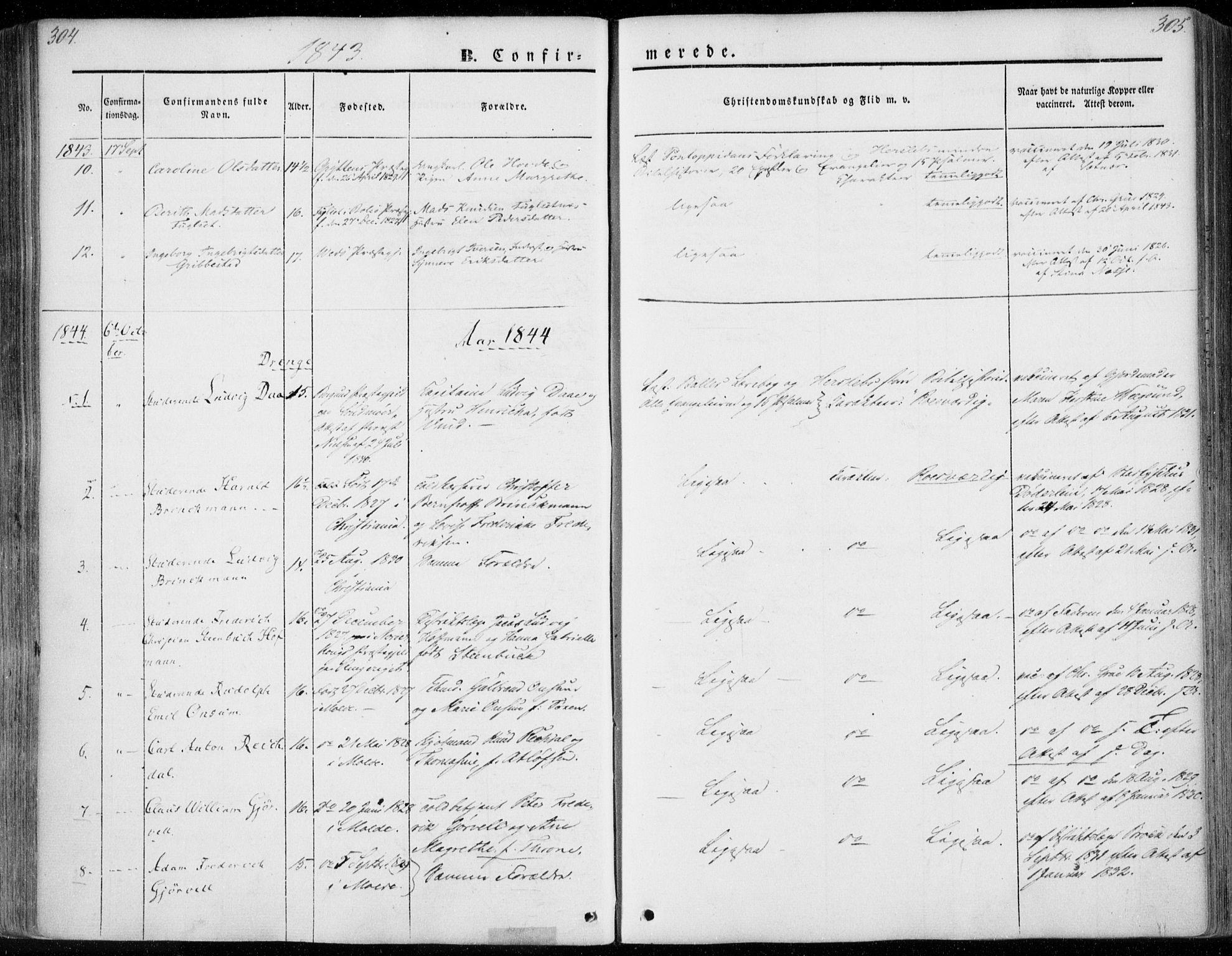 SAT, Ministerialprotokoller, klokkerbøker og fødselsregistre - Møre og Romsdal, 558/L0689: Ministerialbok nr. 558A03, 1843-1872, s. 304-305