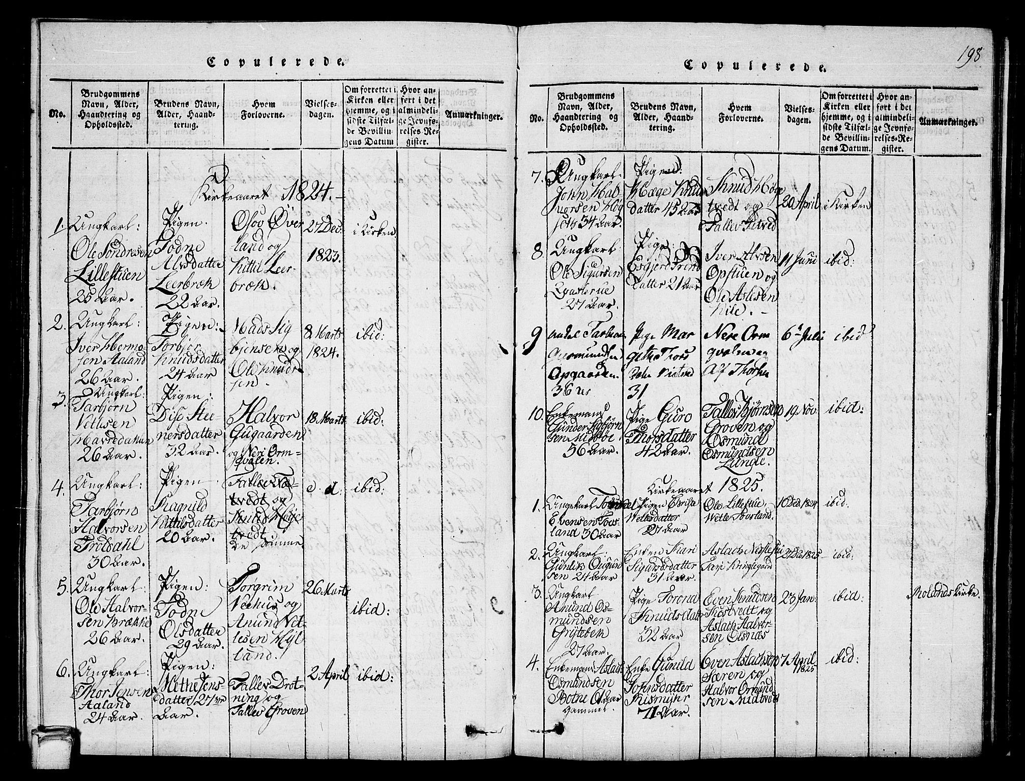 SAKO, Vinje kirkebøker, G/Ga/L0001: Klokkerbok nr. I 1, 1814-1843, s. 198