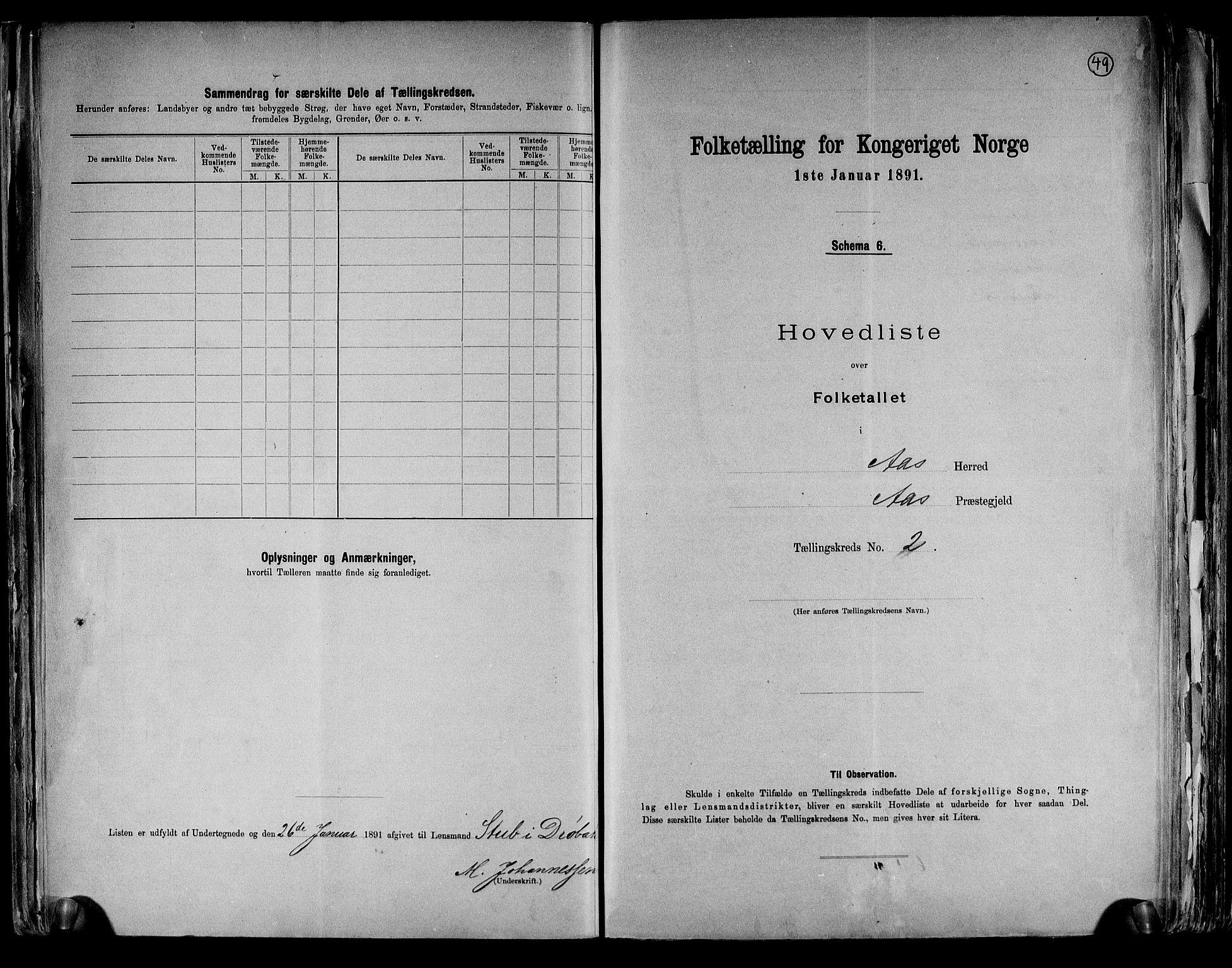 RA, Folketelling 1891 for 0214 Ås herred, 1891, s. 13