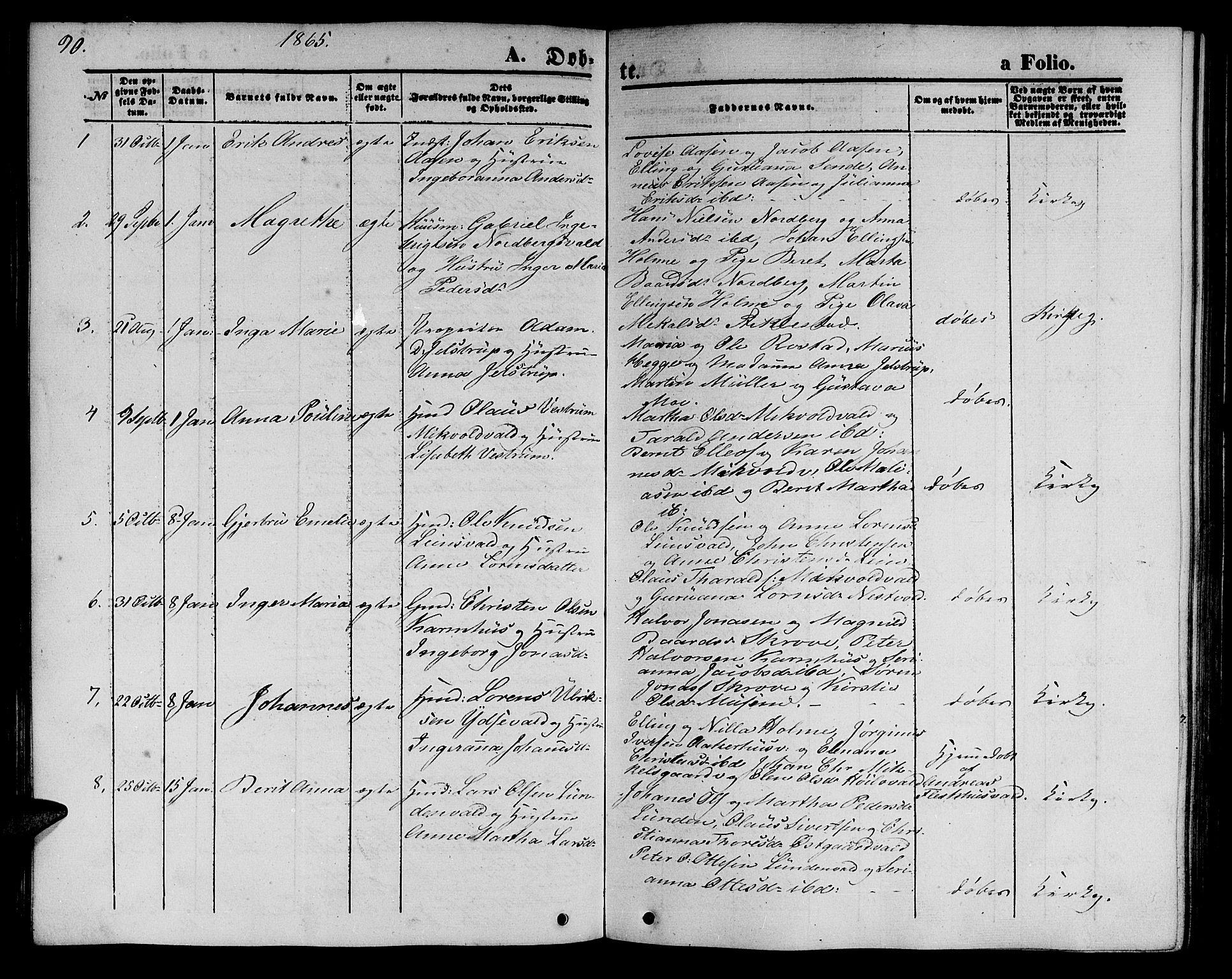SAT, Ministerialprotokoller, klokkerbøker og fødselsregistre - Nord-Trøndelag, 723/L0254: Klokkerbok nr. 723C02, 1858-1868, s. 90