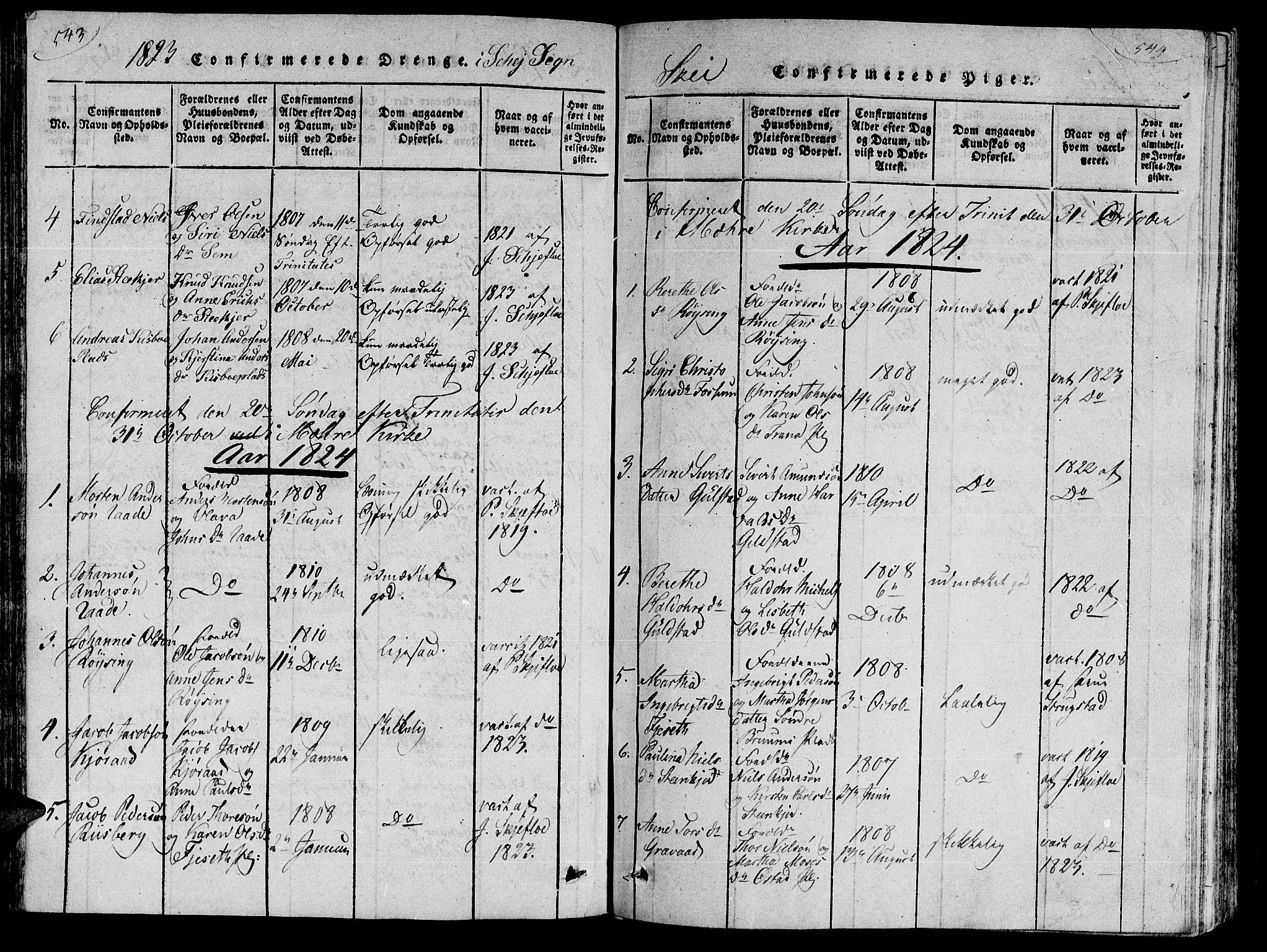 SAT, Ministerialprotokoller, klokkerbøker og fødselsregistre - Nord-Trøndelag, 735/L0333: Ministerialbok nr. 735A04 /2, 1816-1825, s. 543-544