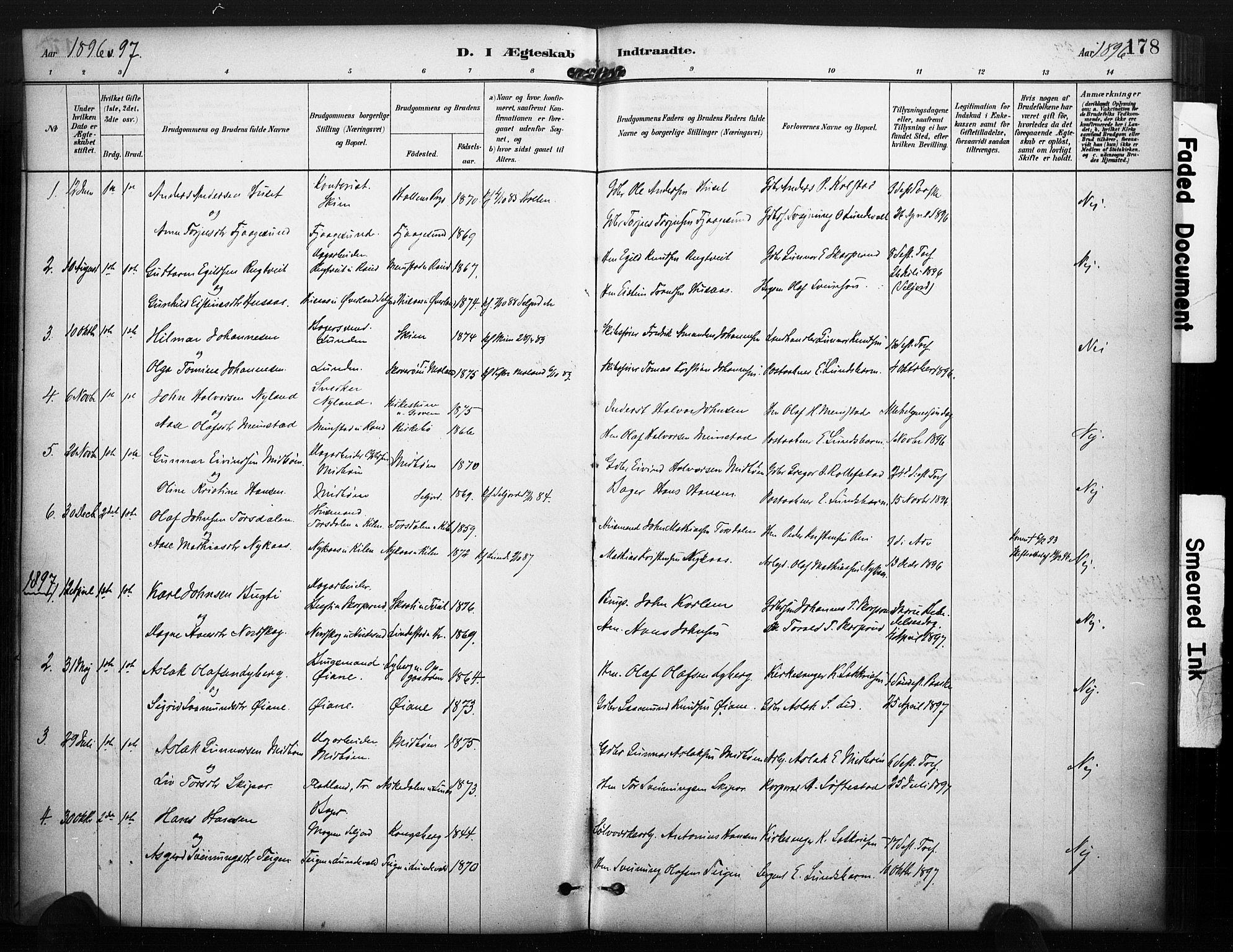 SAKO, Kviteseid kirkebøker, F/Fa/L0008: Ministerialbok nr. I 8, 1882-1903, s. 178