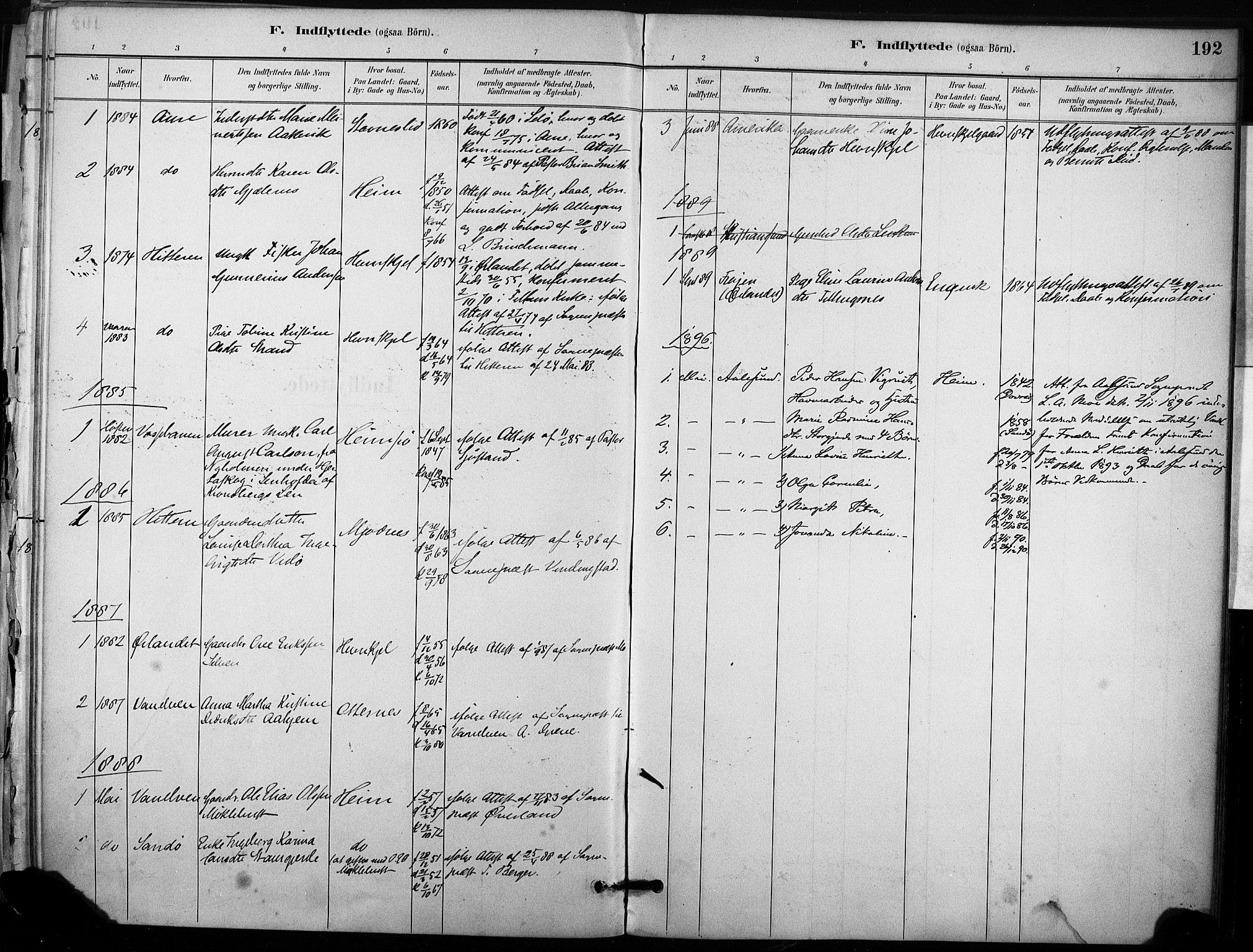 SAT, Ministerialprotokoller, klokkerbøker og fødselsregistre - Sør-Trøndelag, 633/L0518: Ministerialbok nr. 633A01, 1884-1906, s. 192