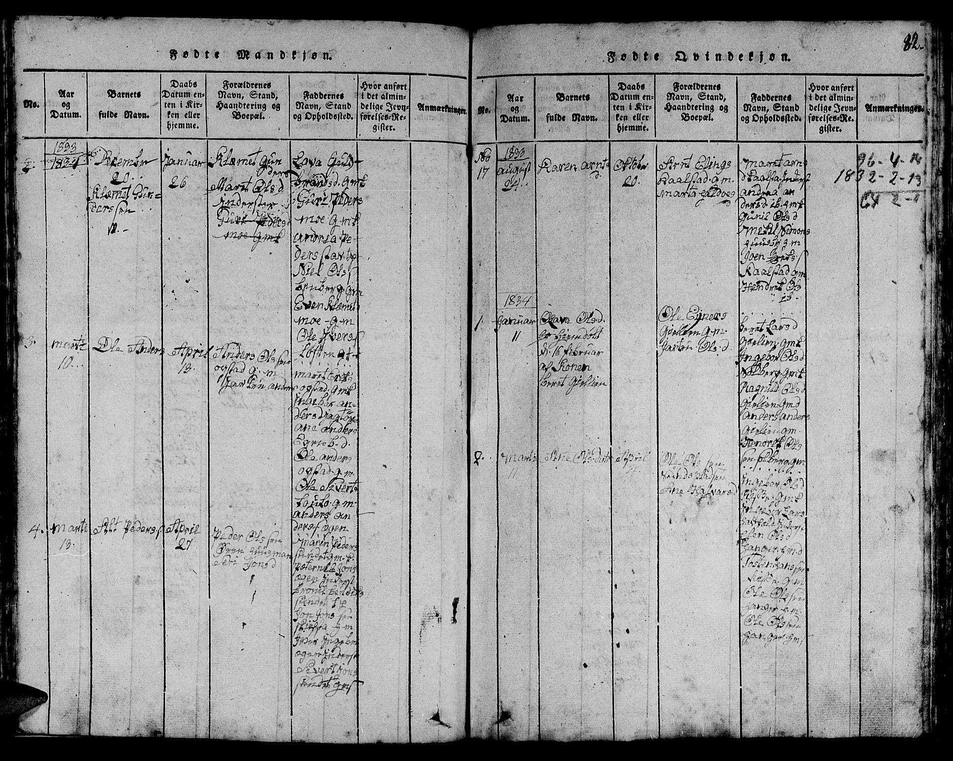SAT, Ministerialprotokoller, klokkerbøker og fødselsregistre - Sør-Trøndelag, 613/L0393: Klokkerbok nr. 613C01, 1816-1886, s. 82