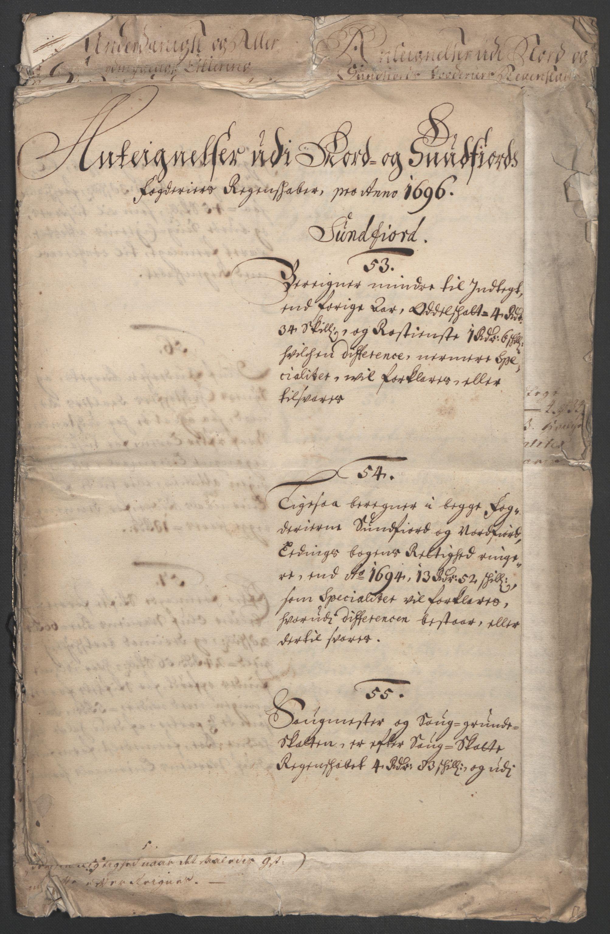 RA, Rentekammeret inntil 1814, Reviderte regnskaper, Fogderegnskap, R53/L3422: Fogderegnskap Sunn- og Nordfjord, 1695-1696, s. 434