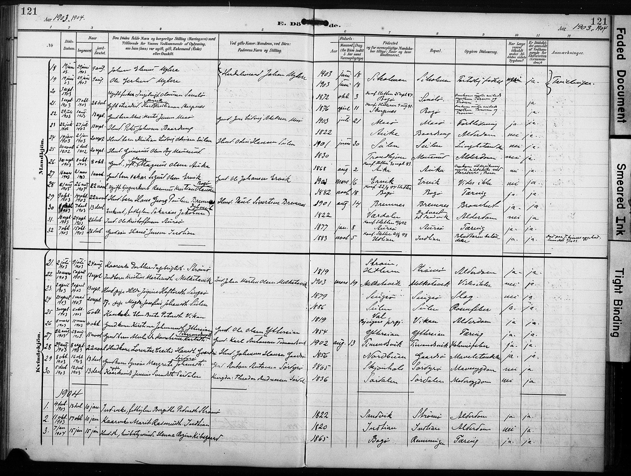 SAT, Ministerialprotokoller, klokkerbøker og fødselsregistre - Sør-Trøndelag, 640/L0580: Ministerialbok nr. 640A05, 1902-1910, s. 121
