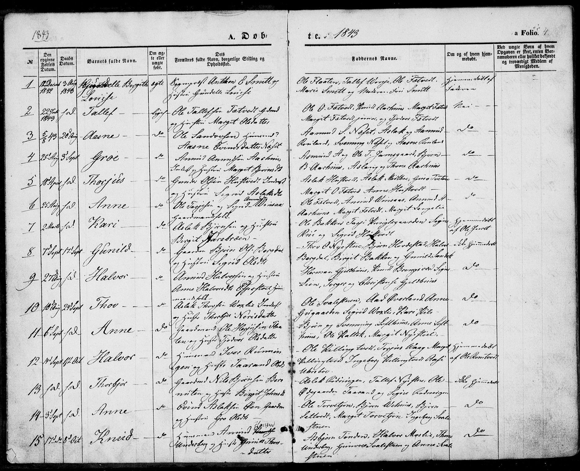 SAKO, Vinje kirkebøker, F/Fa/L0004: Ministerialbok nr. I 4, 1843-1869, s. 4