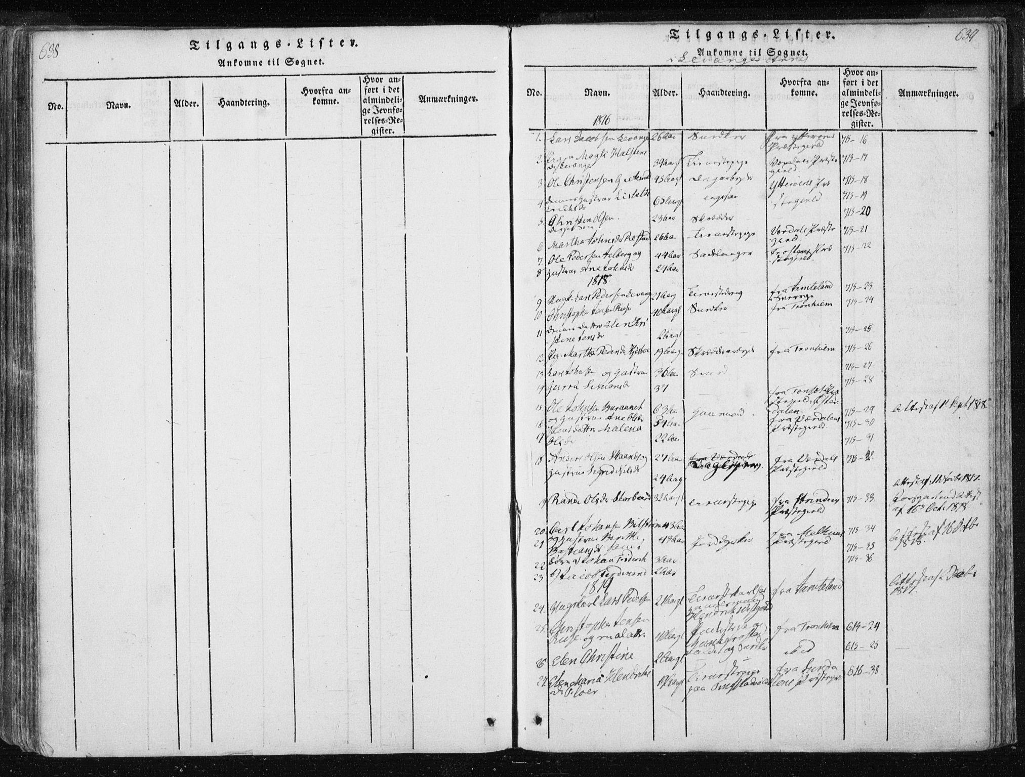 SAT, Ministerialprotokoller, klokkerbøker og fødselsregistre - Nord-Trøndelag, 717/L0148: Ministerialbok nr. 717A04 /2, 1816-1825, s. 638-639