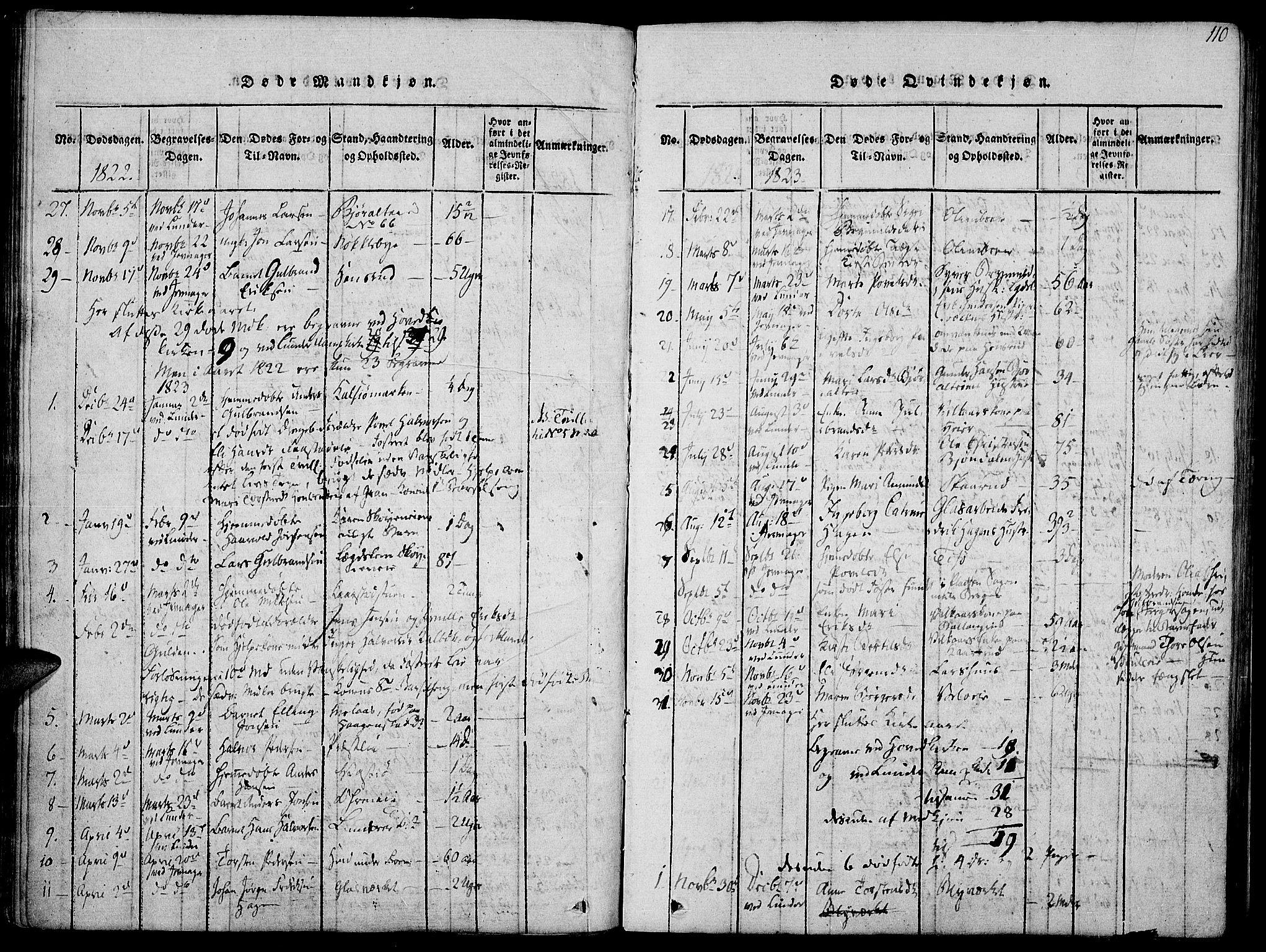 SAH, Jevnaker prestekontor, Ministerialbok nr. 5, 1815-1837, s. 110