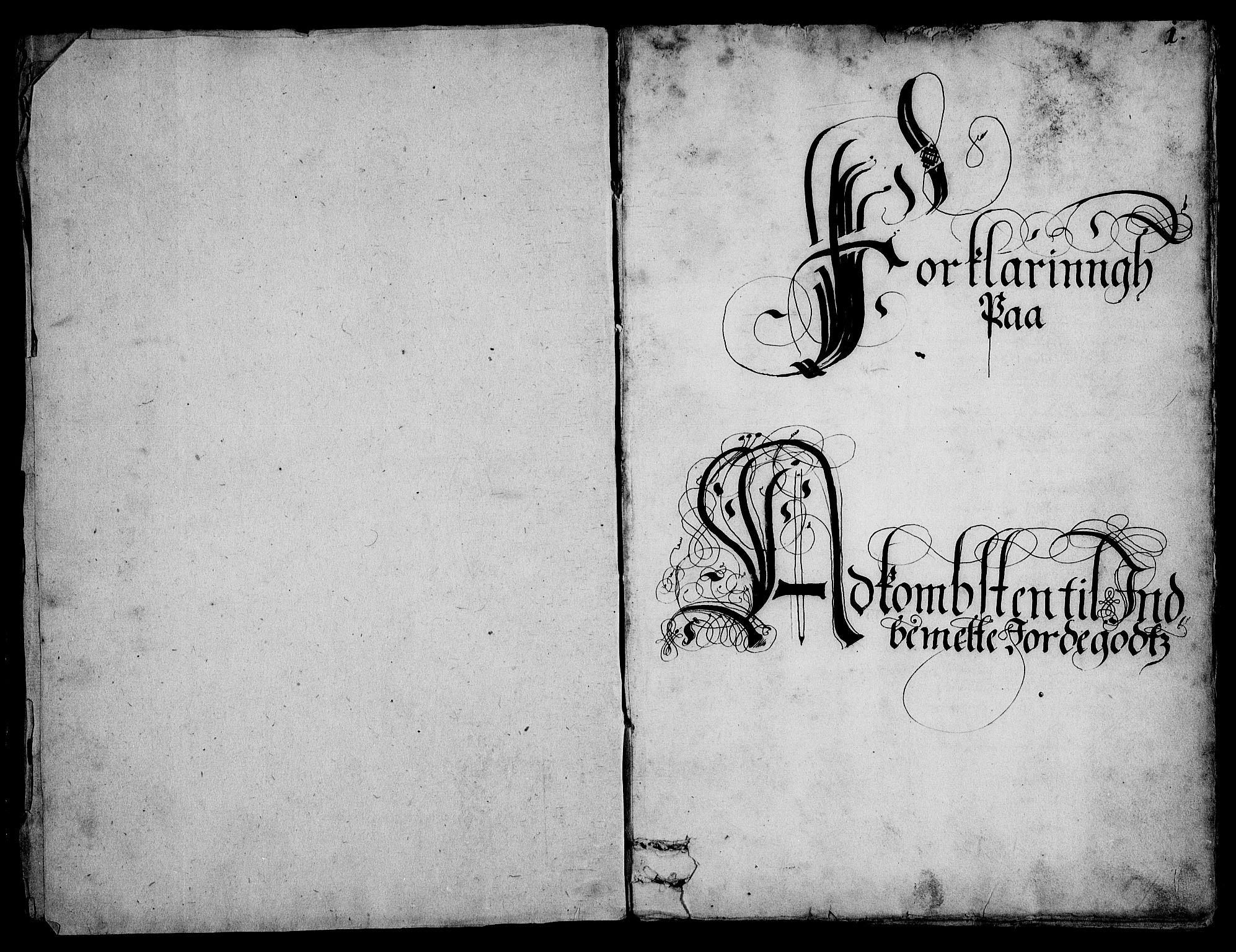 RA, Rentekammeret inntil 1814, Realistisk ordnet avdeling, On/L0001: Statens gods, 1651, s. 1a