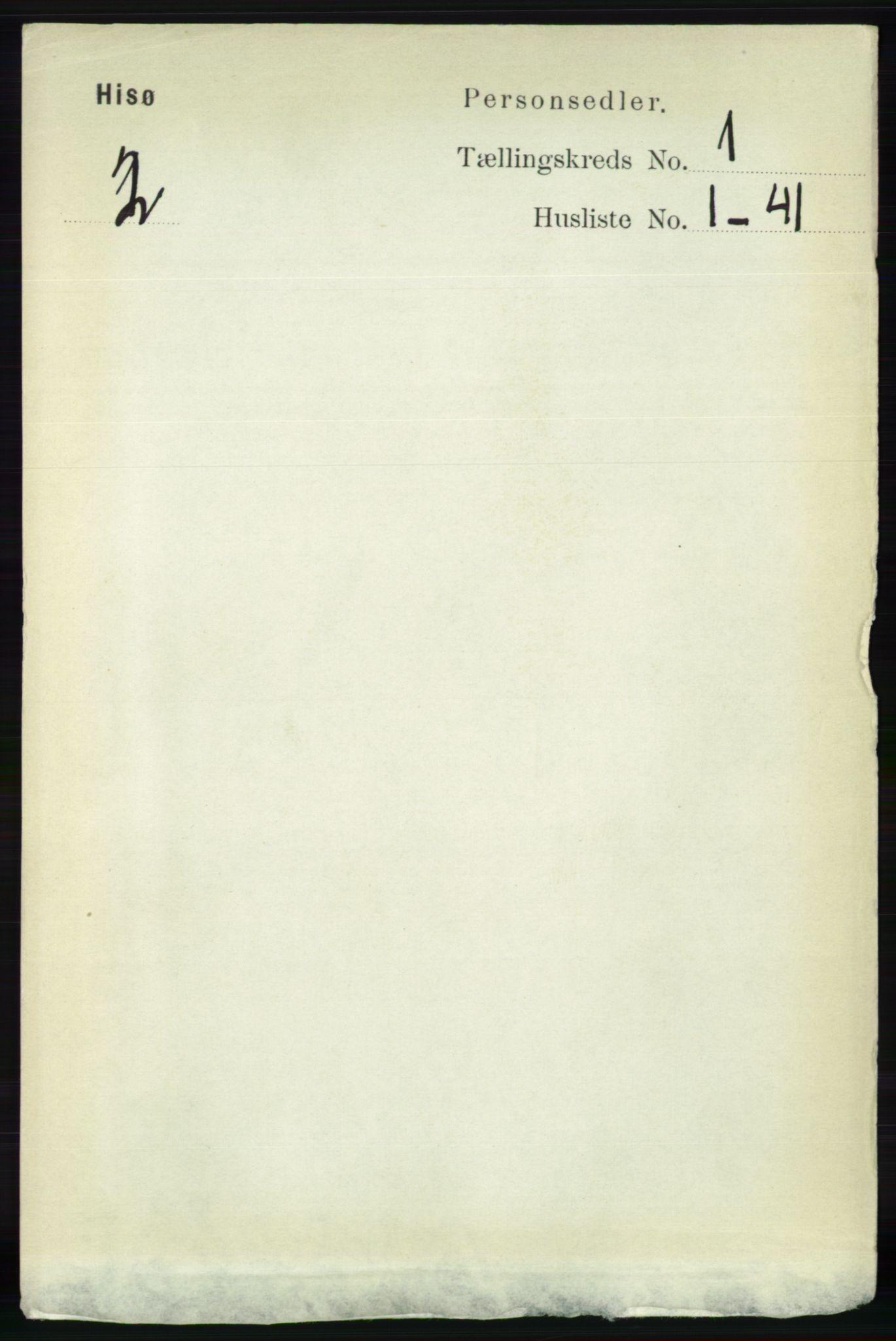 RA, Folketelling 1891 for 0922 Hisøy herred, 1891, s. 122