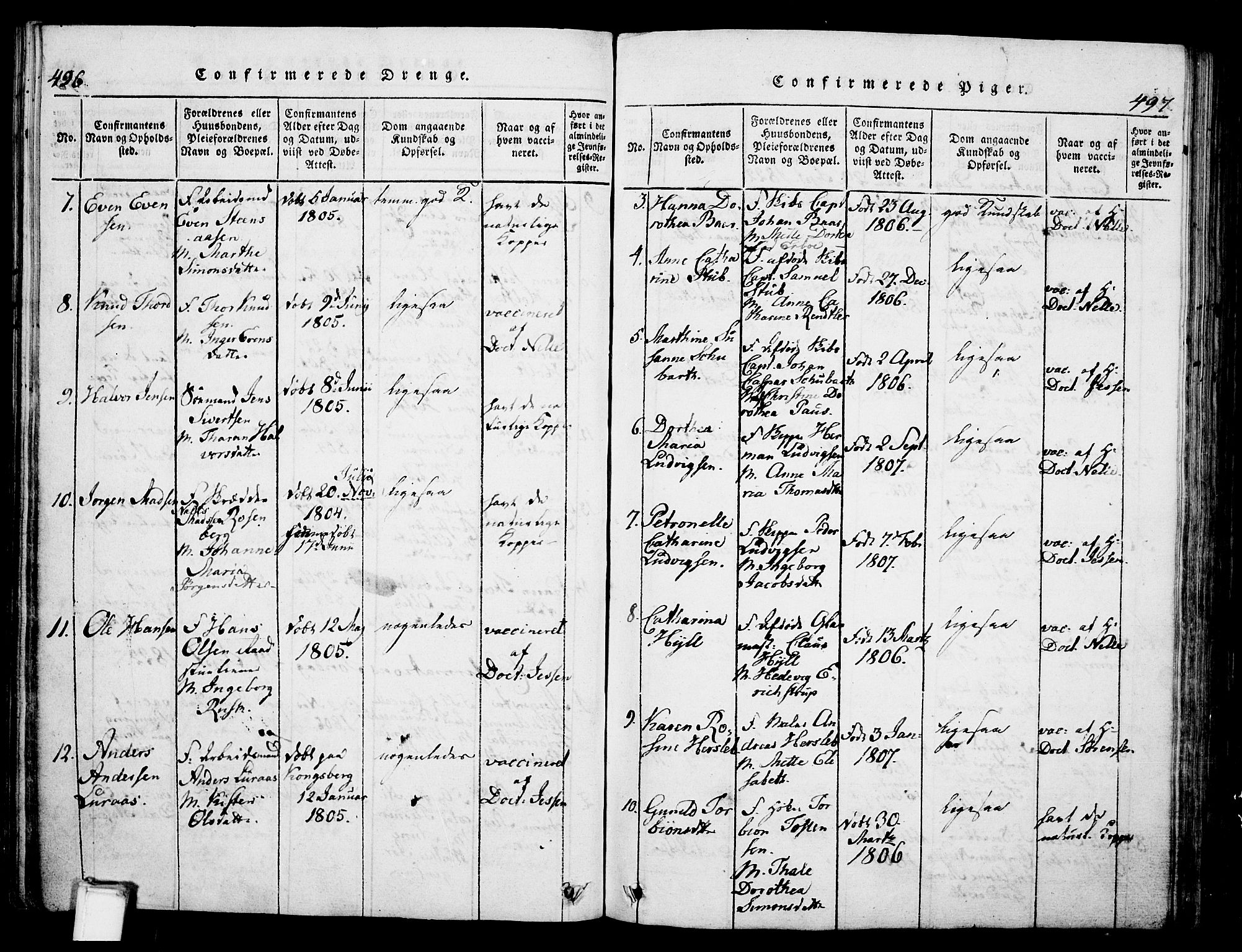 SAKO, Skien kirkebøker, G/Ga/L0002: Klokkerbok nr. 2, 1814-1842, s. 496-497