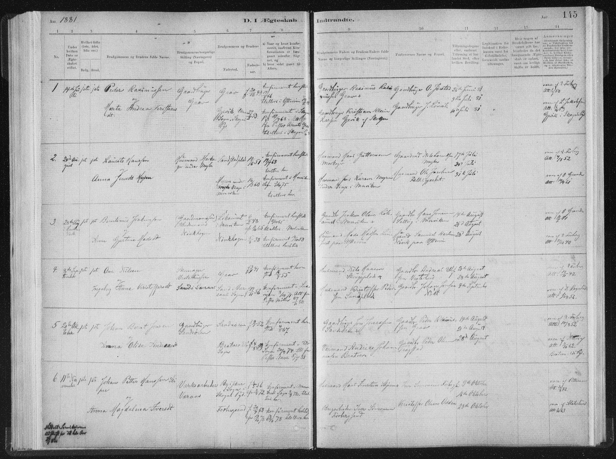 SAT, Ministerialprotokoller, klokkerbøker og fødselsregistre - Nord-Trøndelag, 722/L0220: Ministerialbok nr. 722A07, 1881-1908, s. 145