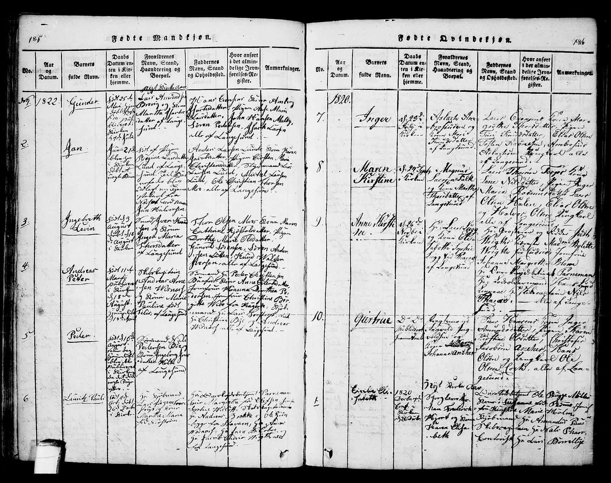 SAKO, Bamble kirkebøker, F/Fa/L0003: Ministerialbok nr. I 3 /2, 1815-1834, s. 185-186