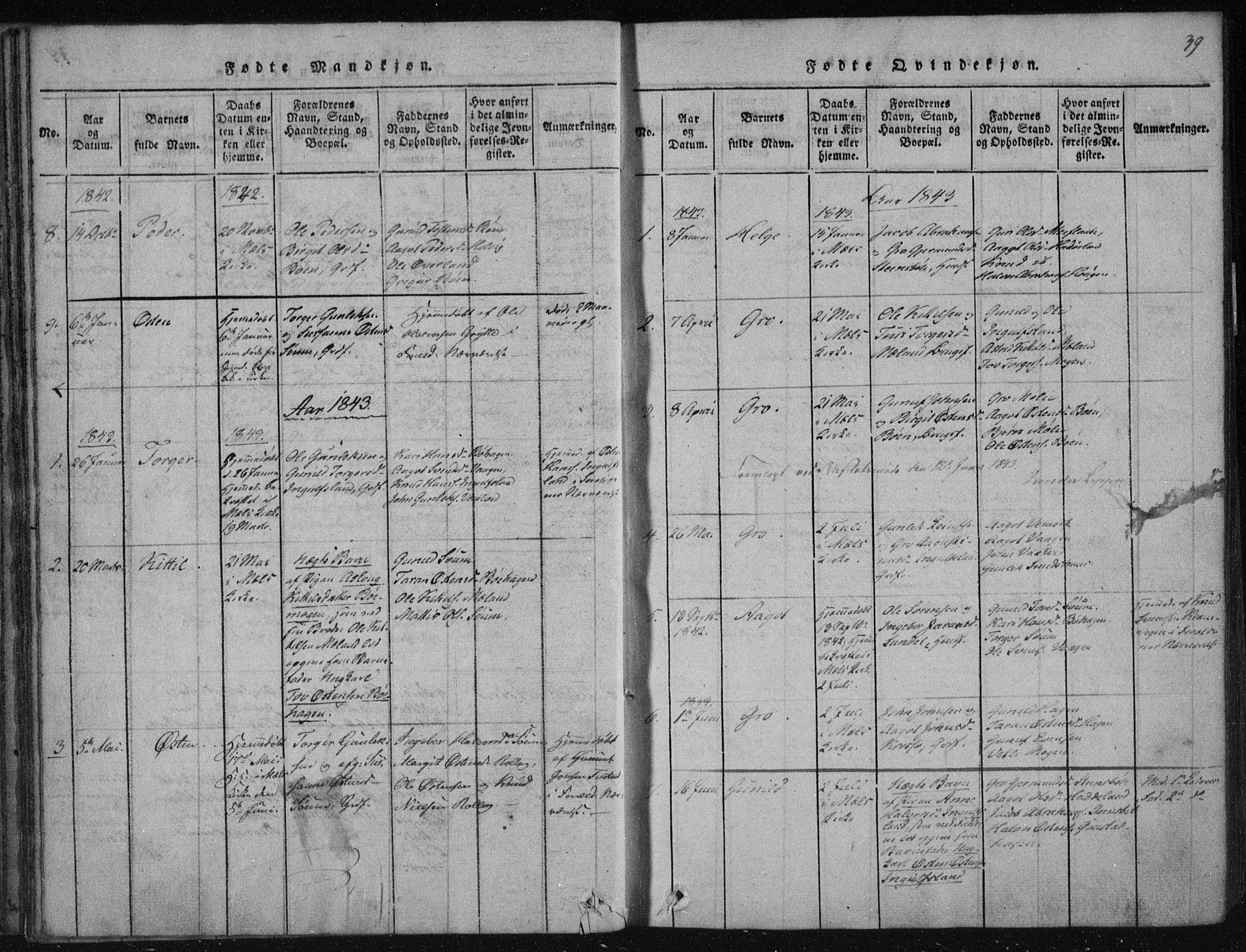 SAKO, Tinn kirkebøker, F/Fc/L0001: Ministerialbok nr. III 1, 1815-1843, s. 39