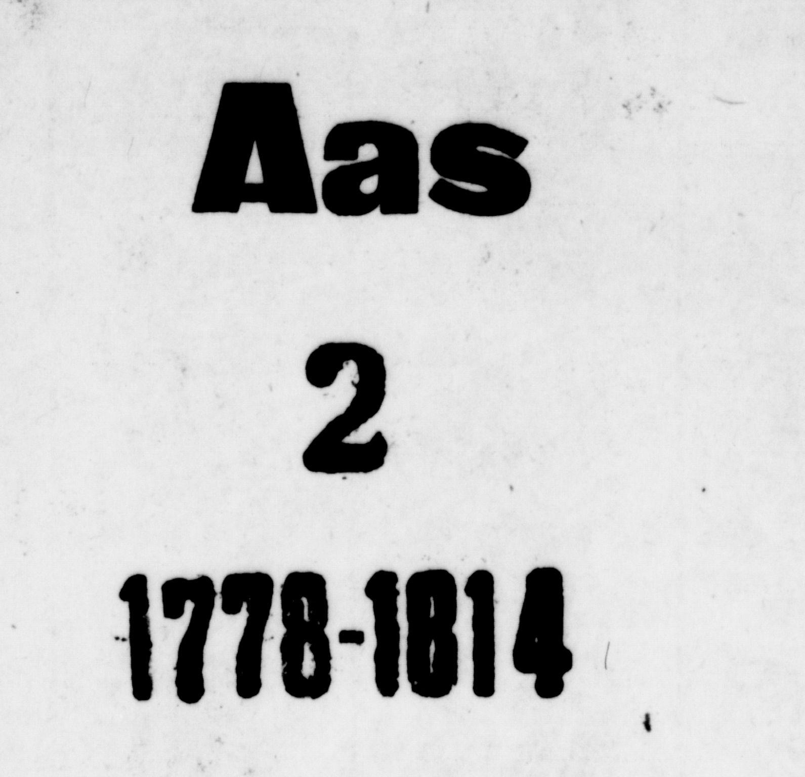 SAO, Ås prestekontor Kirkebøker, F/Fa/L0002: Ministerialbok nr. I 2, 1778-1813