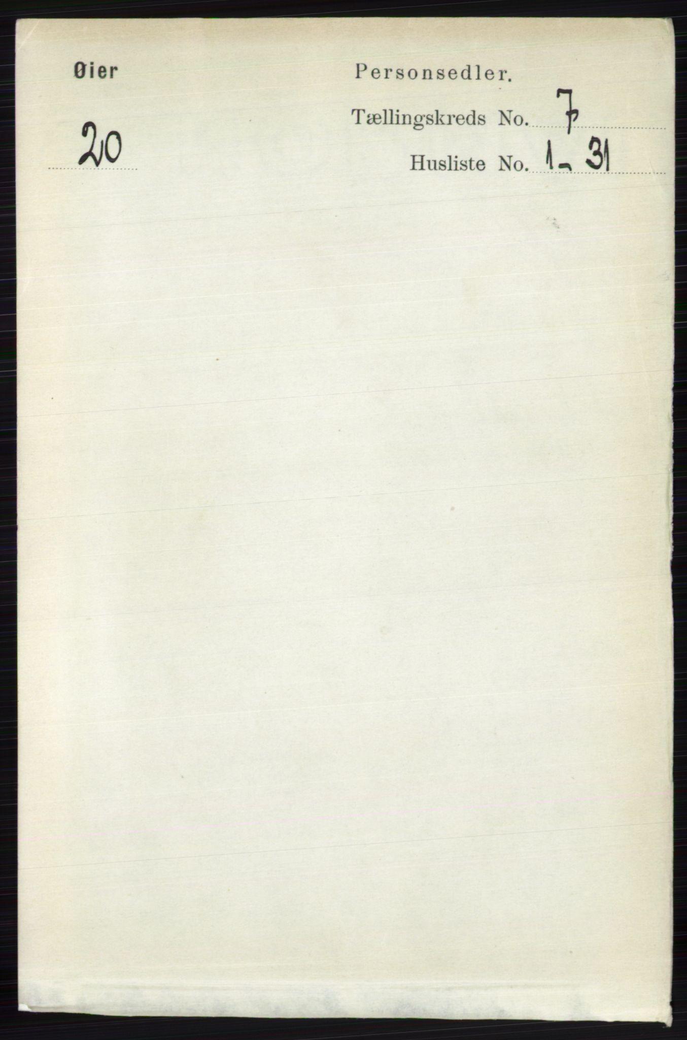 RA, Folketelling 1891 for 0521 Øyer herred, 1891, s. 2475